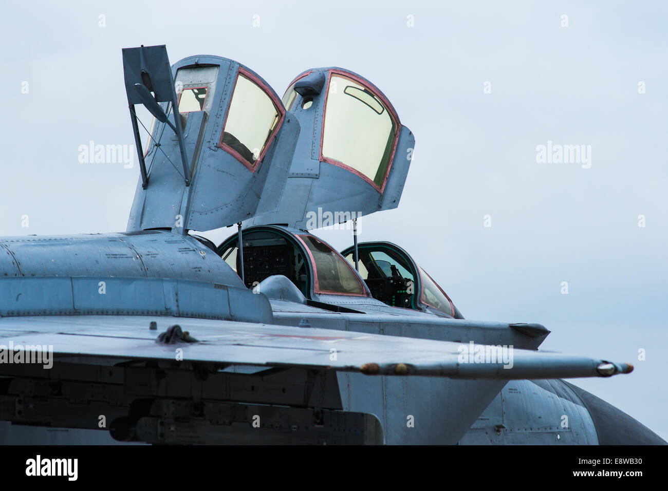 Photo of MiG-31 interceptor plane of Russian Air Force with canopy open at Moscow Aerospace Show 2013 & MiG-31 Cockpit. Photo of MiG-31 interceptor plane of Russian Air ...