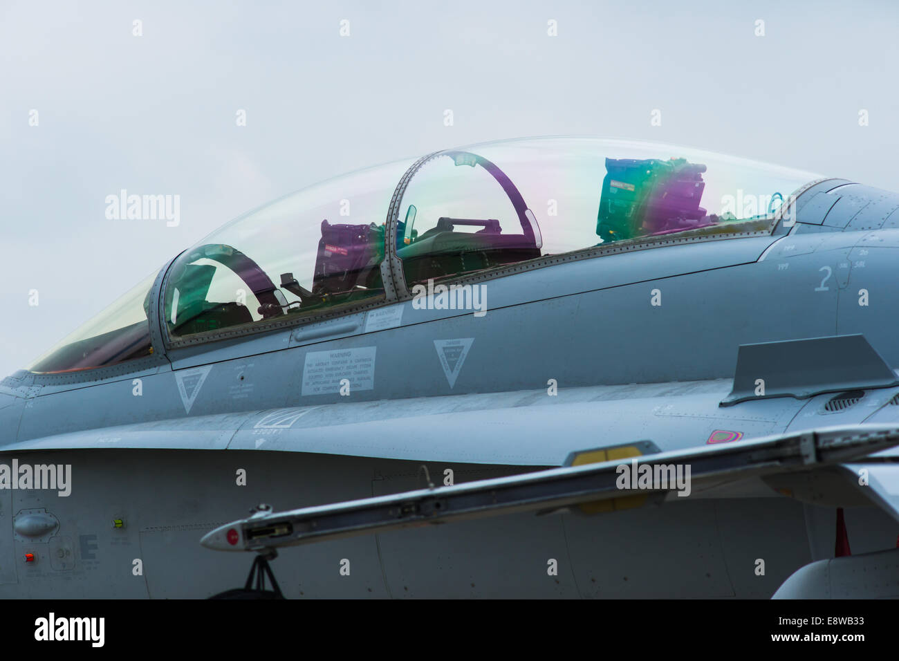 F-18 Canopy. Closeup view of the canopy of F-18 fighter plane at Moscow Aerospace Show 2013 & F-18 Canopy. Closeup view of the canopy of F-18 fighter plane at ...