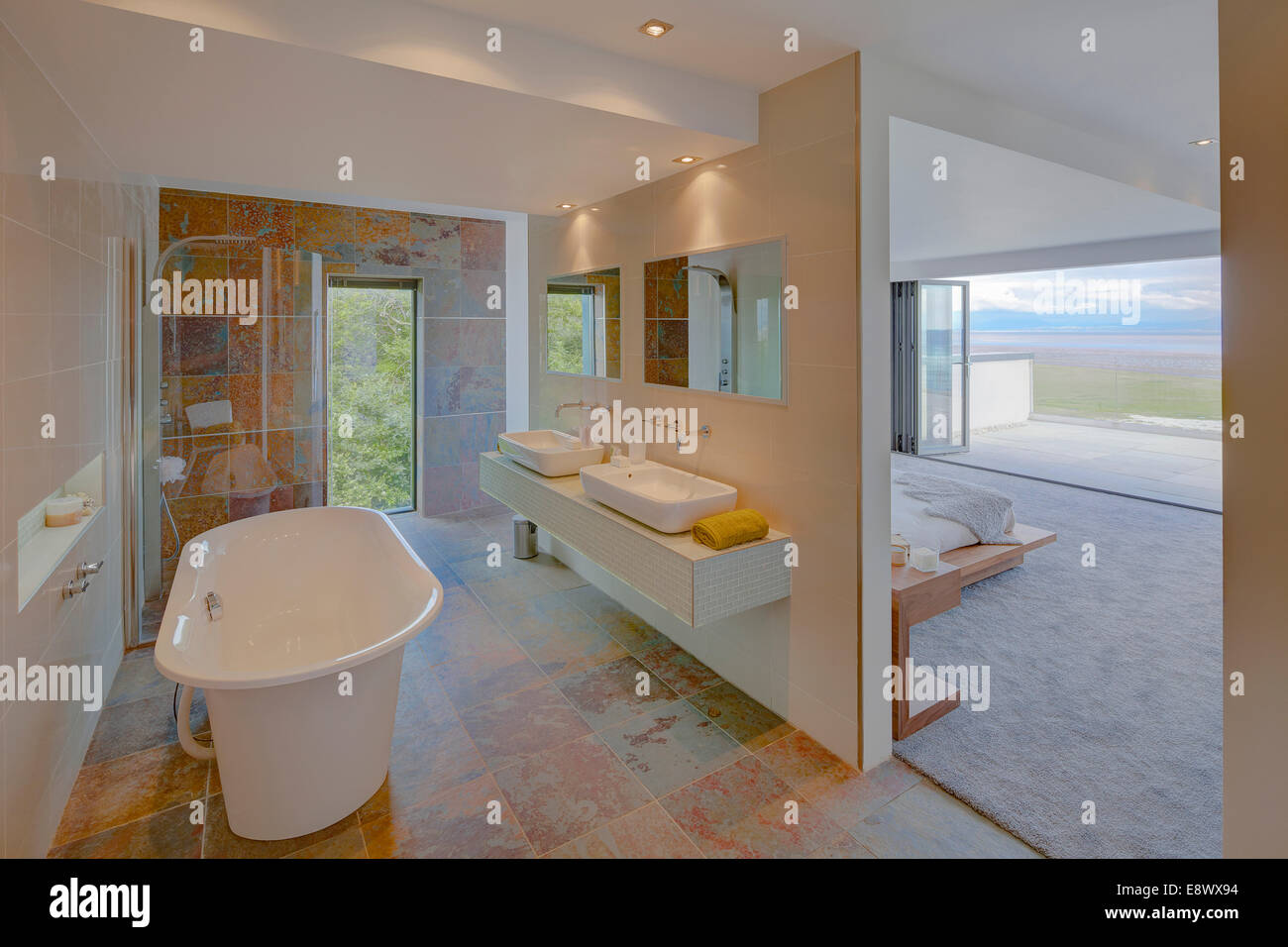 Modern ensuite bathroom separated from bedroom by for Contemporary ensuite