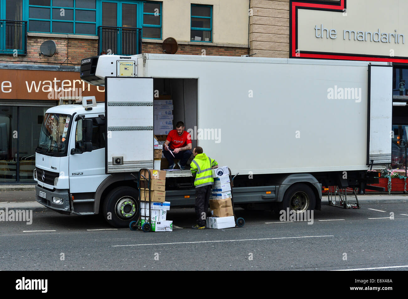 Stock photo lorry delivering food supplies to chinese