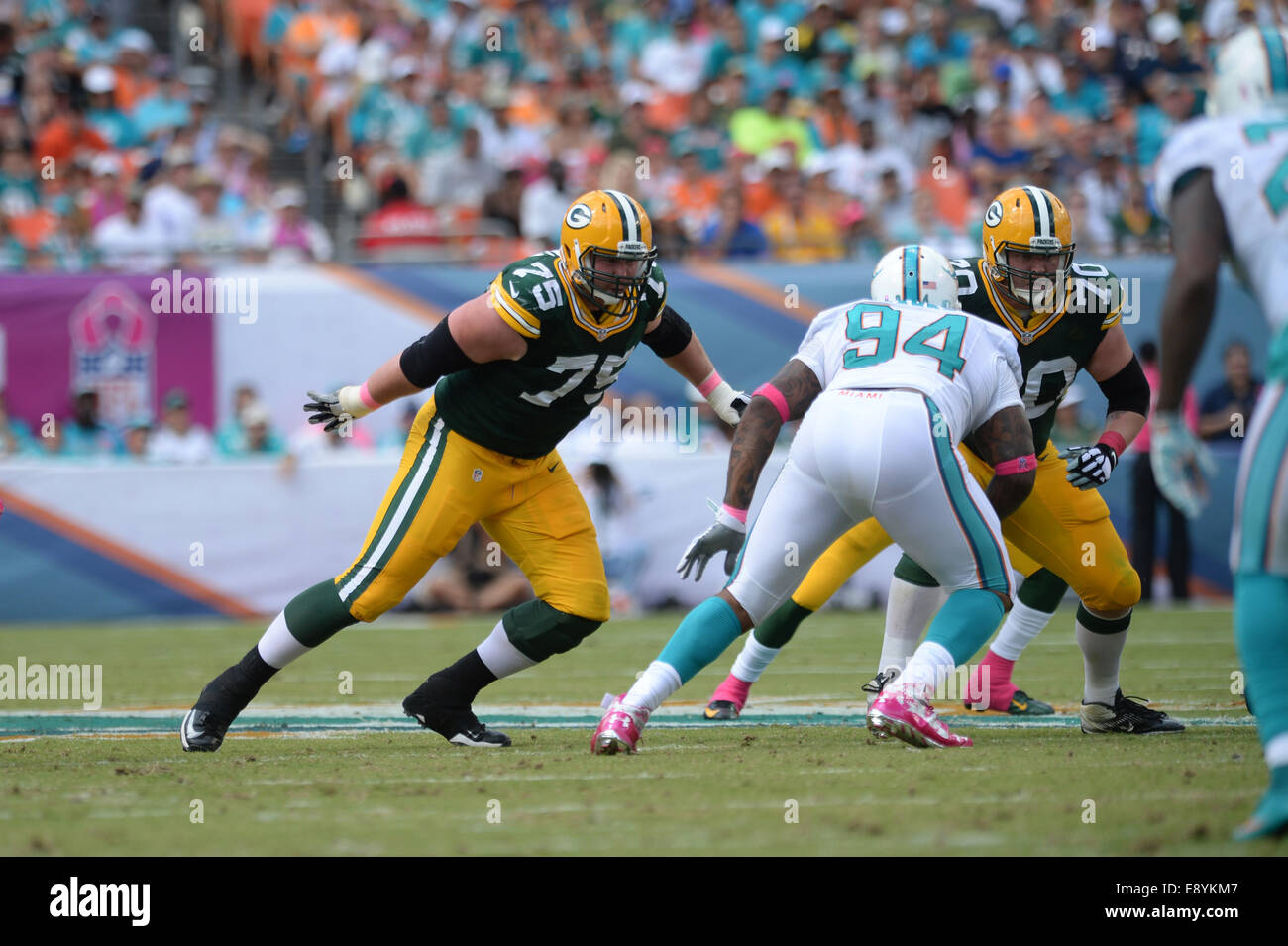 Miami Gardens FL USA 12th Oct 2014 Bryan Bulaga 75 of Green