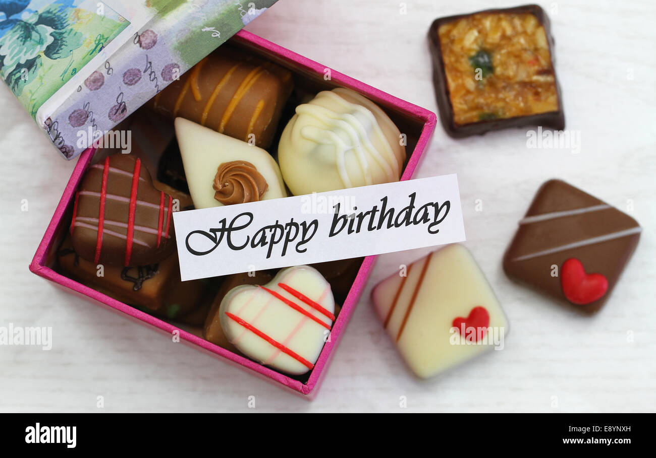 Happy birthday card with box of assorted chocolates Photo – Boxed Birthday Card Assortment