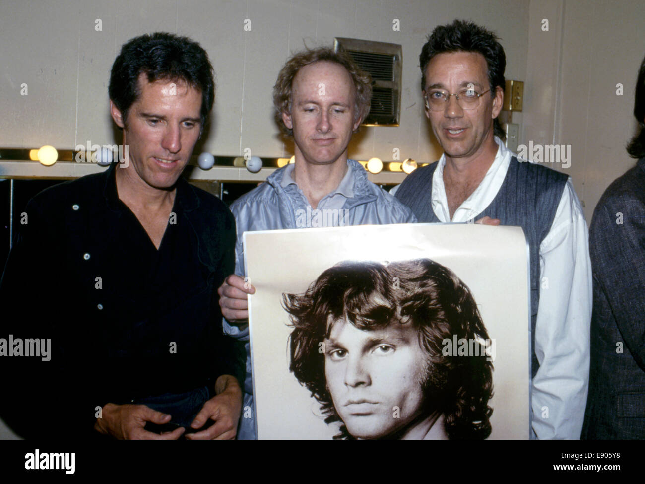 Stock Photo - in 1984 the remaining members of The Doors John Densmore Robby Krieger and Ray Manzarek at release of L.A. Woman music video