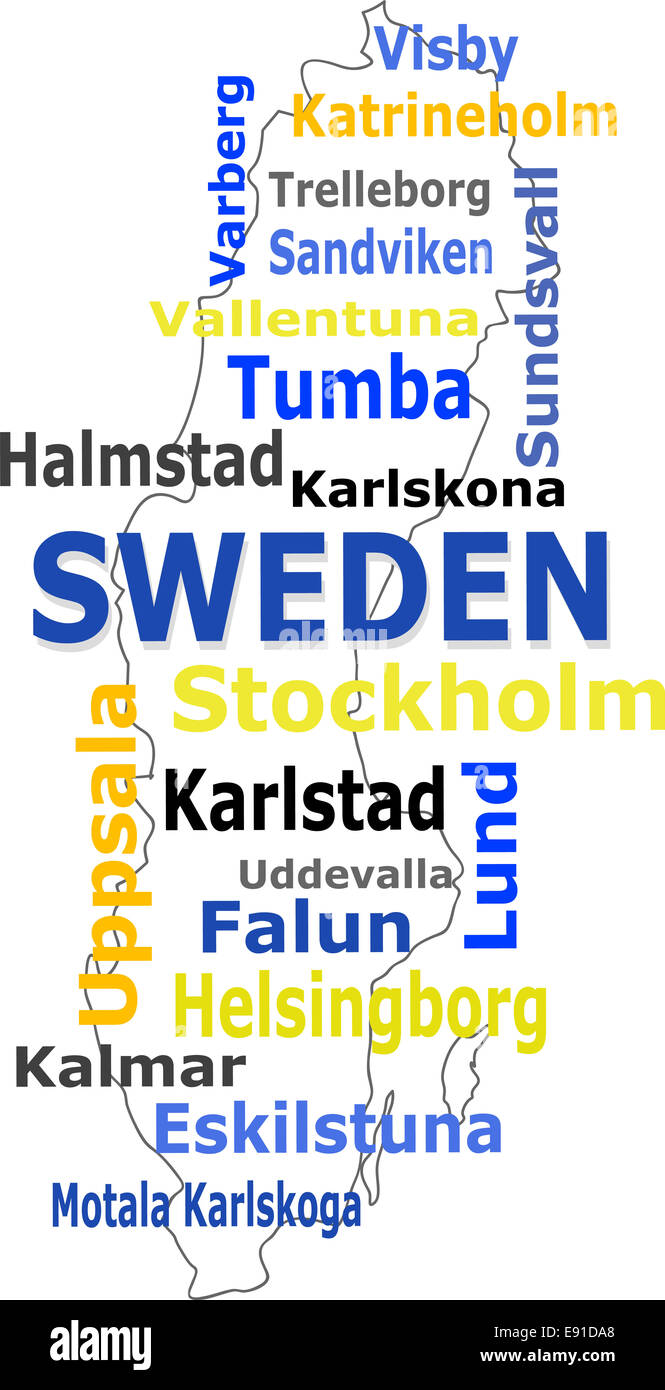 Sweden Map Words Cloud With Larger Cities Stock Photo Royalty - Sweden map uddevalla