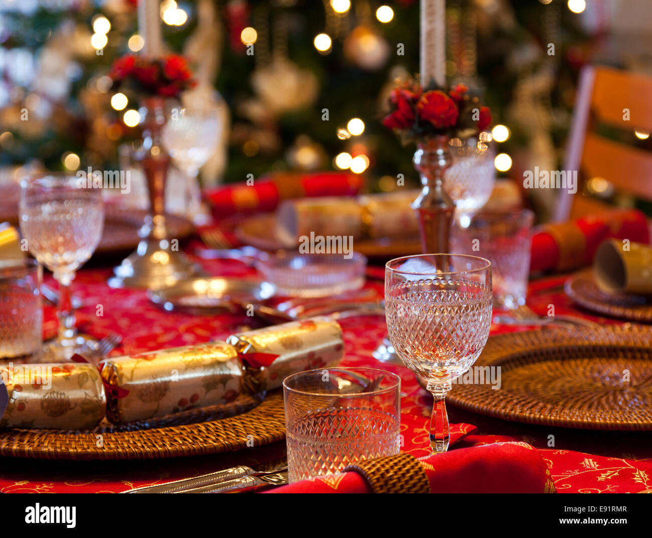 English Christmas table with crackers Stock Photo, Royalty Free ...