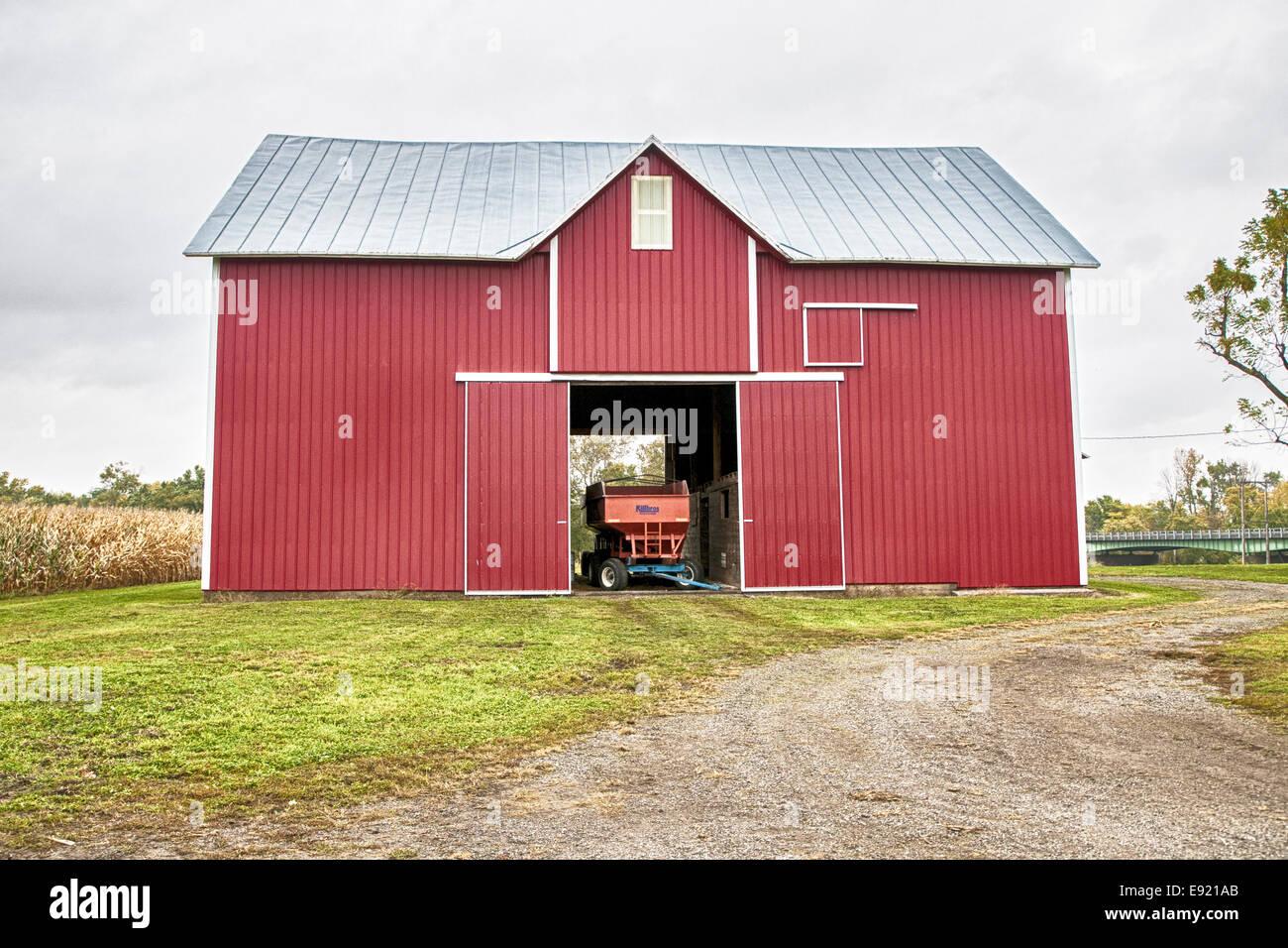 Open red barn doors -  Large Red Barn Doors Open Wagon Inside Stock Photo