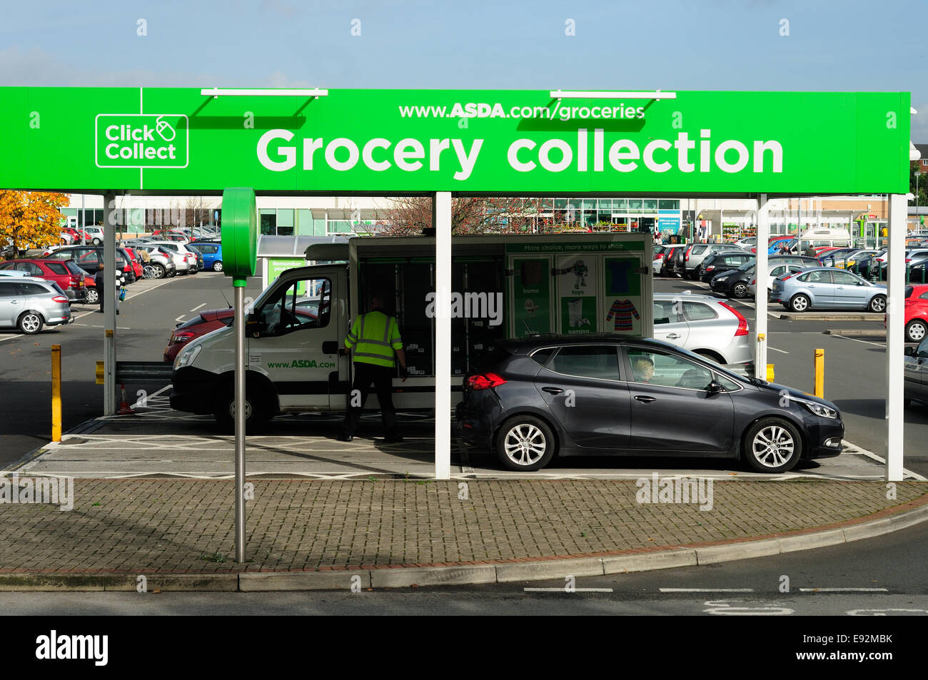 asda supermarket 39 click and collect 39 grocery point mansfield uk stock photo 74433287 alamy. Black Bedroom Furniture Sets. Home Design Ideas