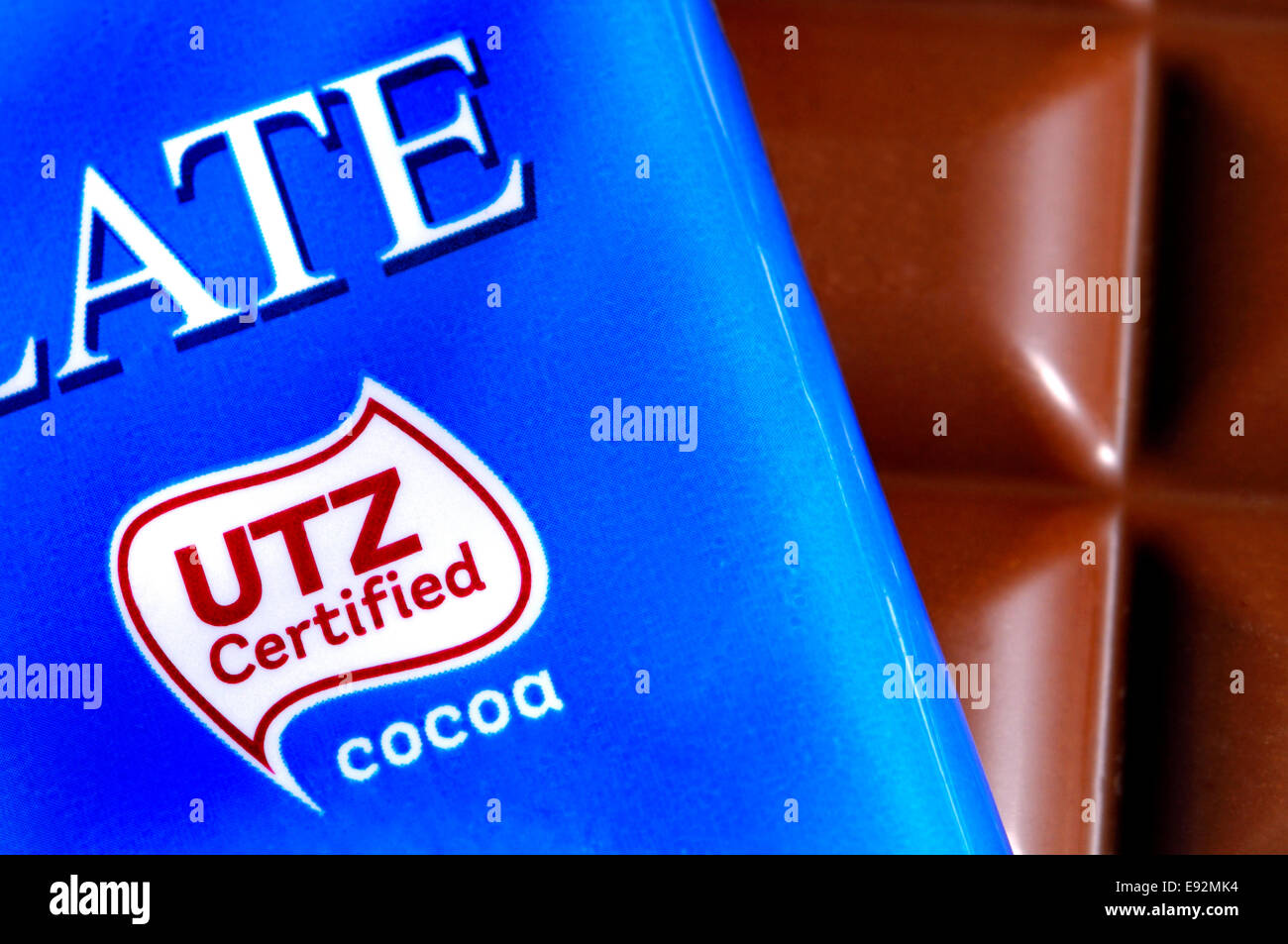 Chocolate bar wrapper with UTZ certification logo - supports Stock ...