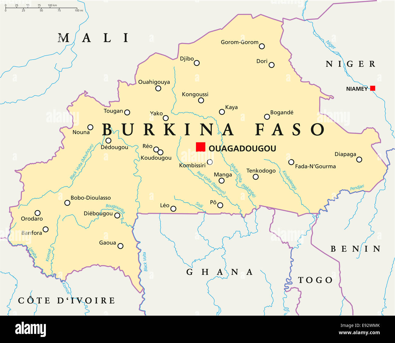 Burkina Faso Political Map With Capital Ouagadougou