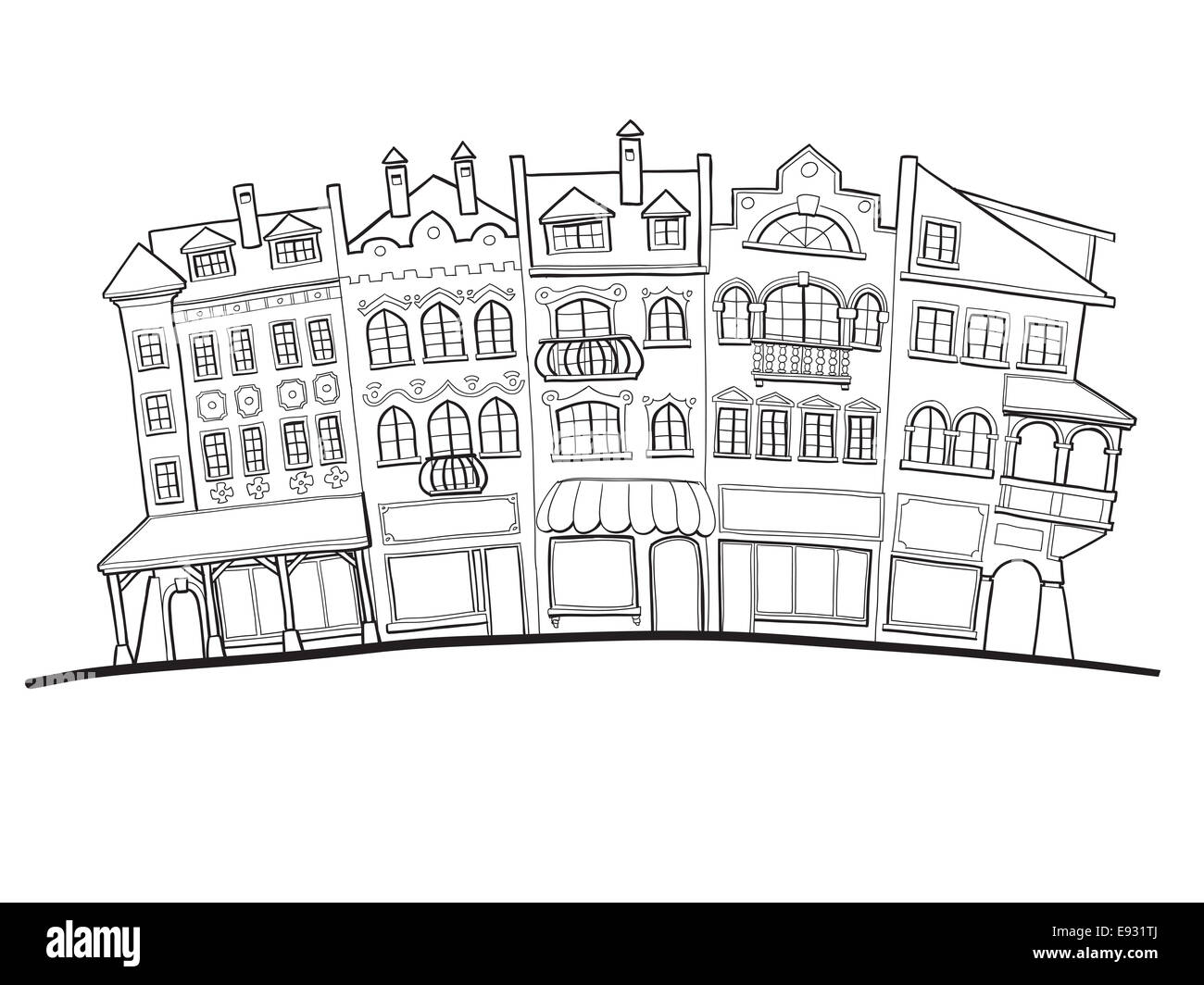 drawing of old city street facades houses and shops stock photo