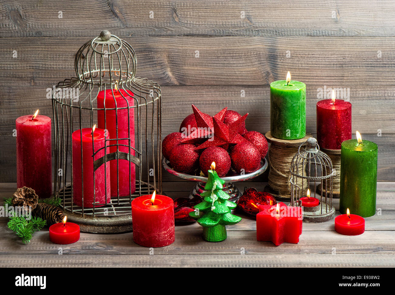Stock Photo   Vintage Christmas Background With Birdcage, Burning Candles  And Baubles. Nostalgic Home Interior Decoration