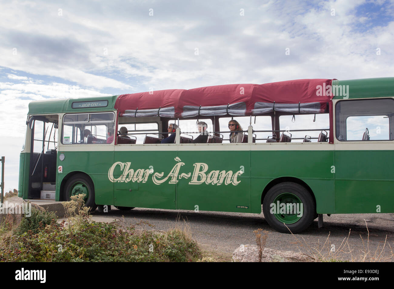 char a banc tour bus jersey channel islands char banc island coach stock photo 74449834 alamy. Black Bedroom Furniture Sets. Home Design Ideas