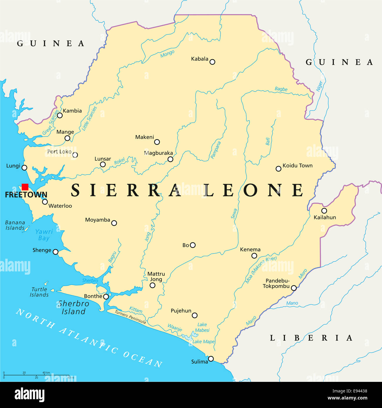 Sierra Leone Political Map With Capital Freetown National Borders - Sierra leone map