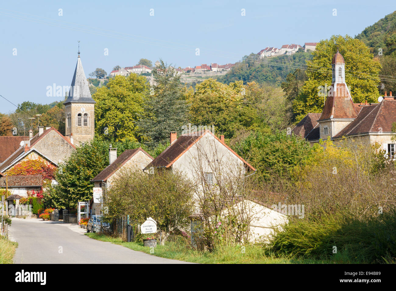 french village of nevy sur seille below chateau chalon near stock photo royalty free image. Black Bedroom Furniture Sets. Home Design Ideas