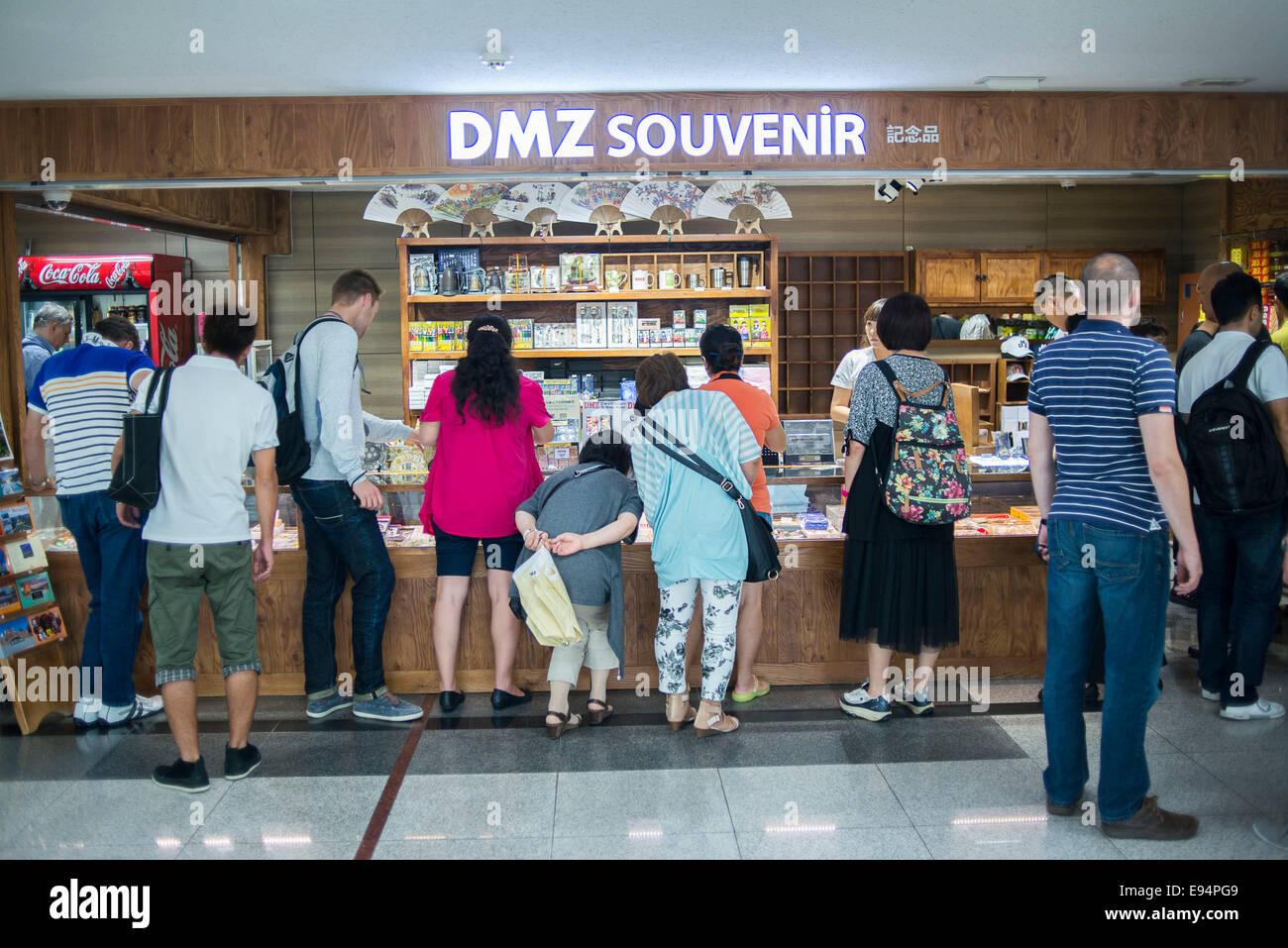 September 6, 2013, Seoul, South Korea Tourists Queue To Buy Souvenirs At  Dorasan