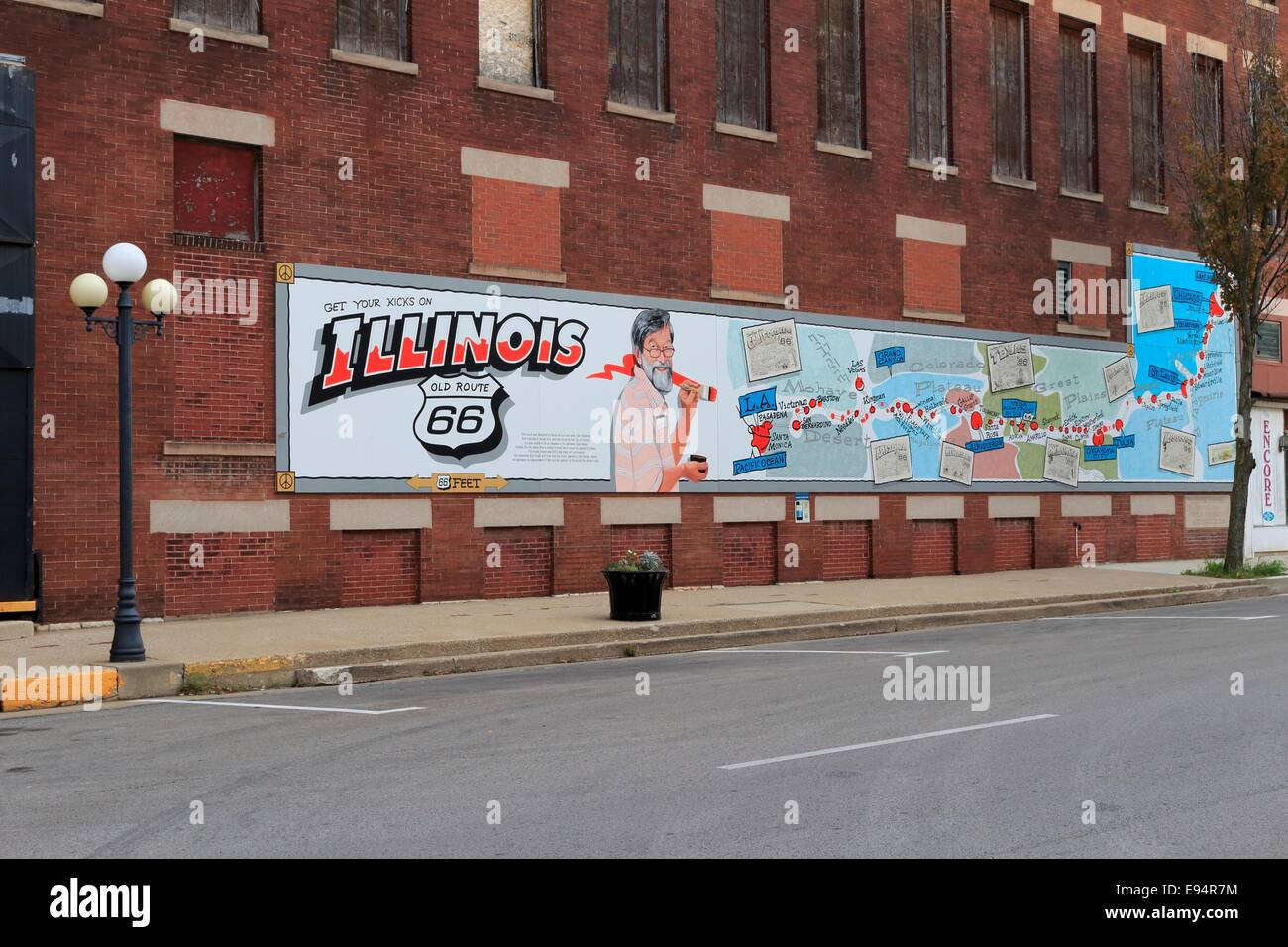 Mural map of route 66 pontiac illinois stock photo for Route 66 mural