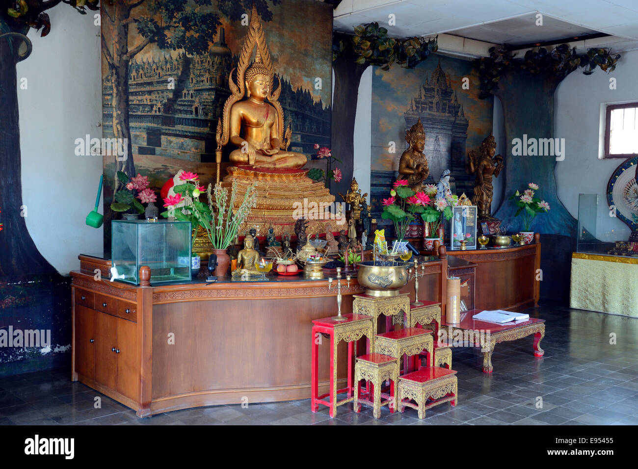 Buddha Statue On An Altar In A Prayer Hall Of The Buddhist