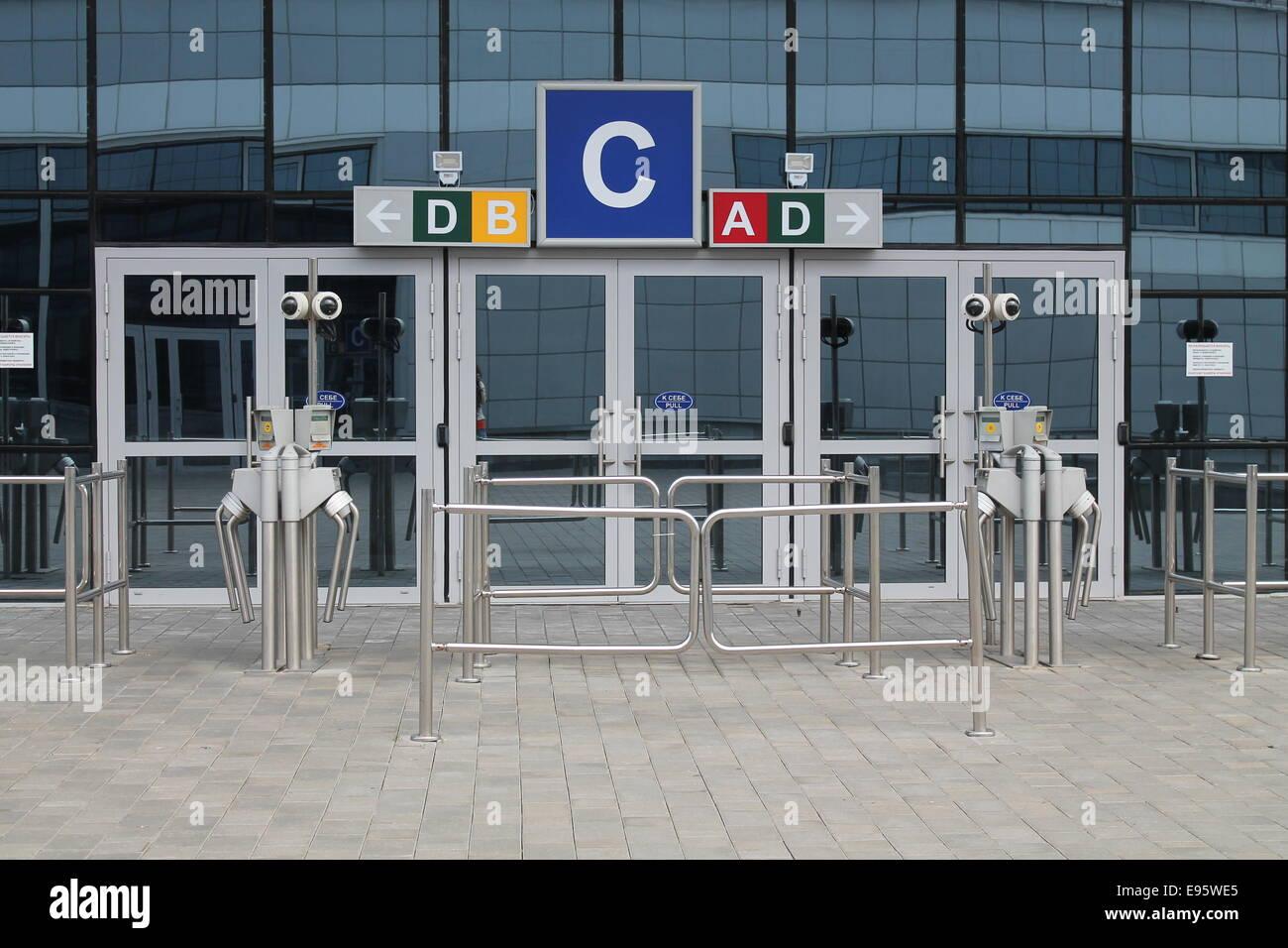 glass door entrance. Glass Door Entrance In Sport Stadium With Metal Turnstile S