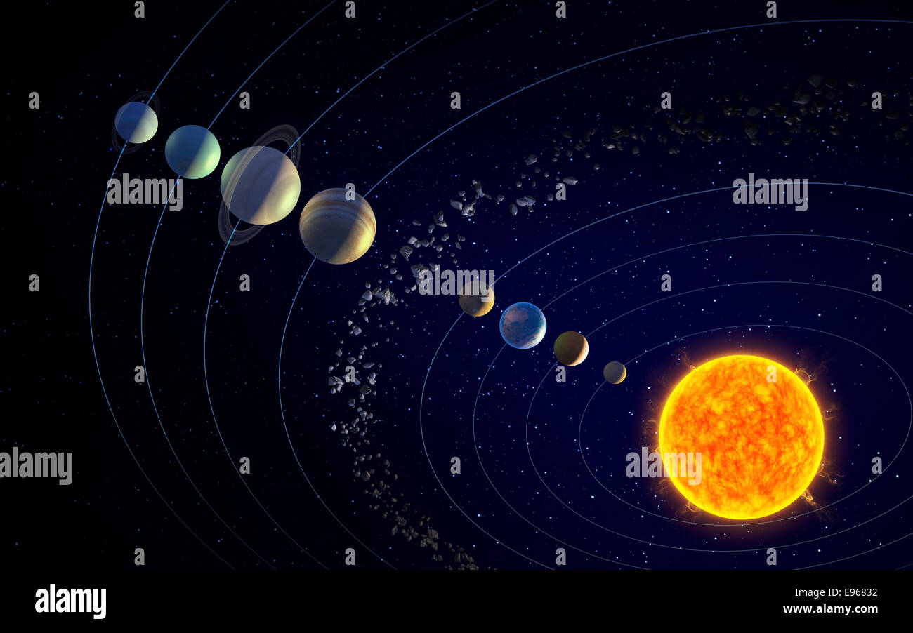 Solar sun planets asteroid belt stock photos solar sun planets solar system sun the planets and the asteroid belt stock image pooptronica Images
