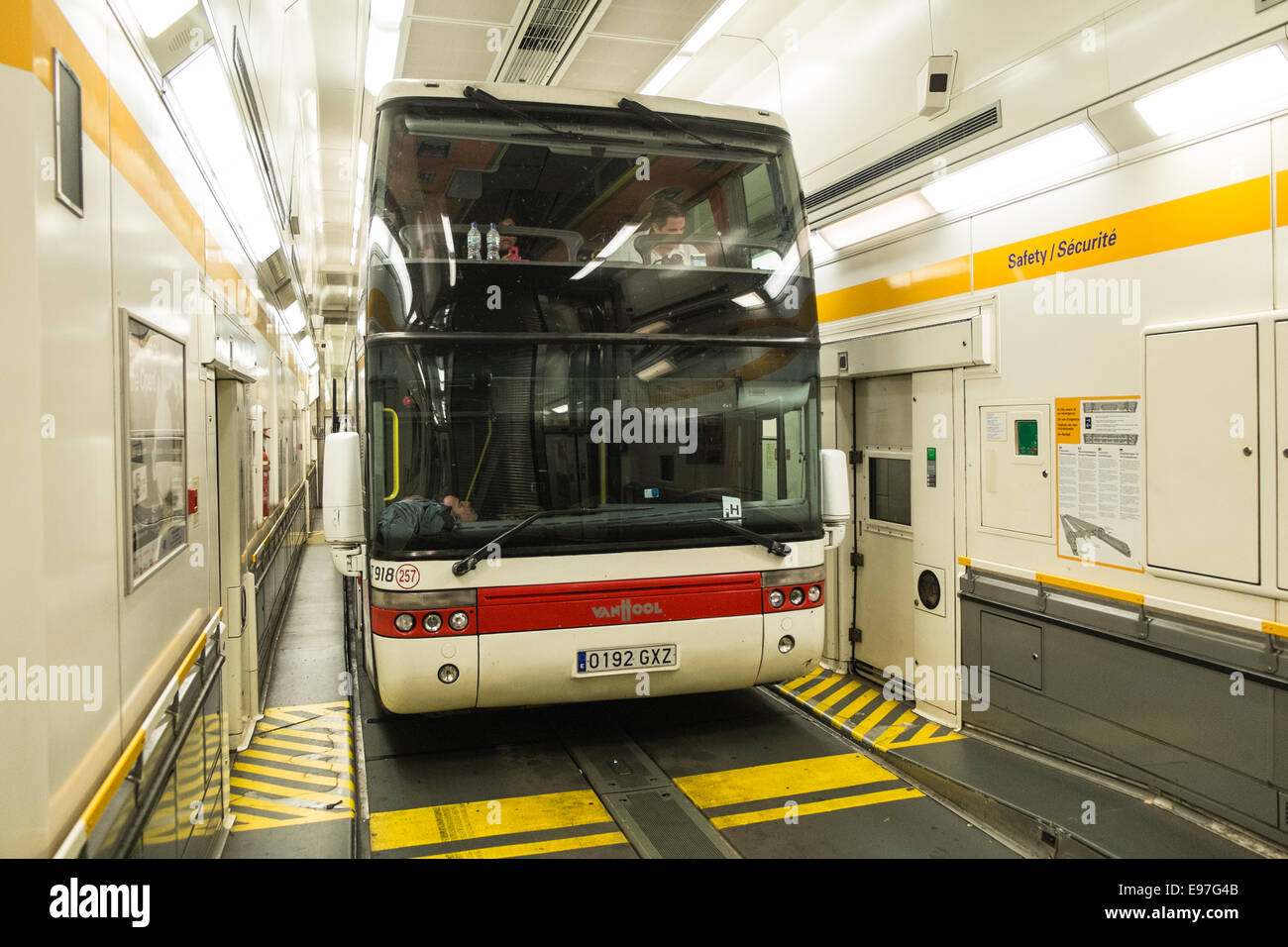 tour bus on eurotunnel between france and england stock photo royalty free image 74539707 alamy. Black Bedroom Furniture Sets. Home Design Ideas