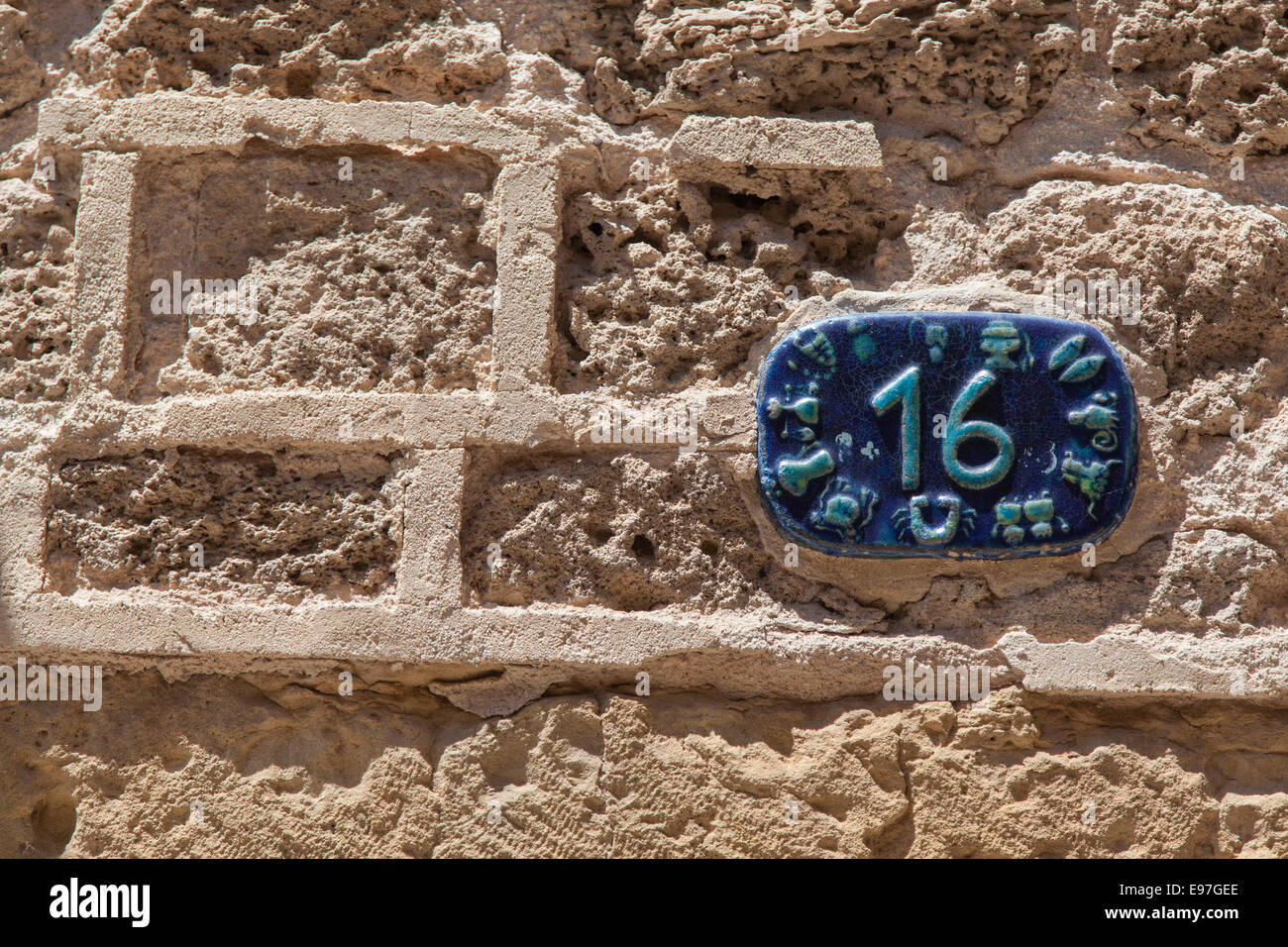 House number 16 in blue ceramics with zodiac signs around for Number 16 house