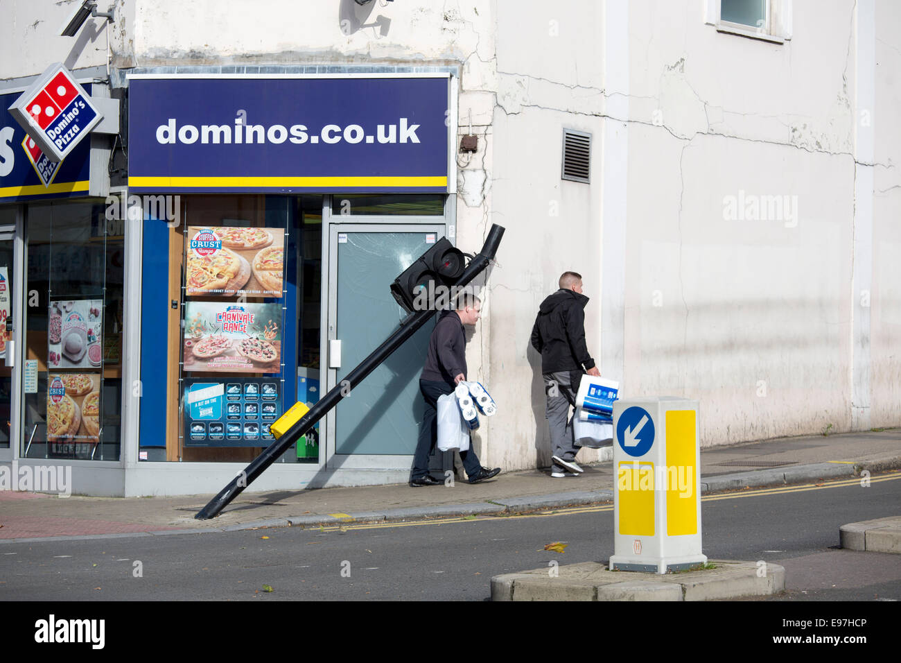 dominos pizza restaurant stock photos dominos pizza restaurant traffic light post bent hit dominos pizza stock image