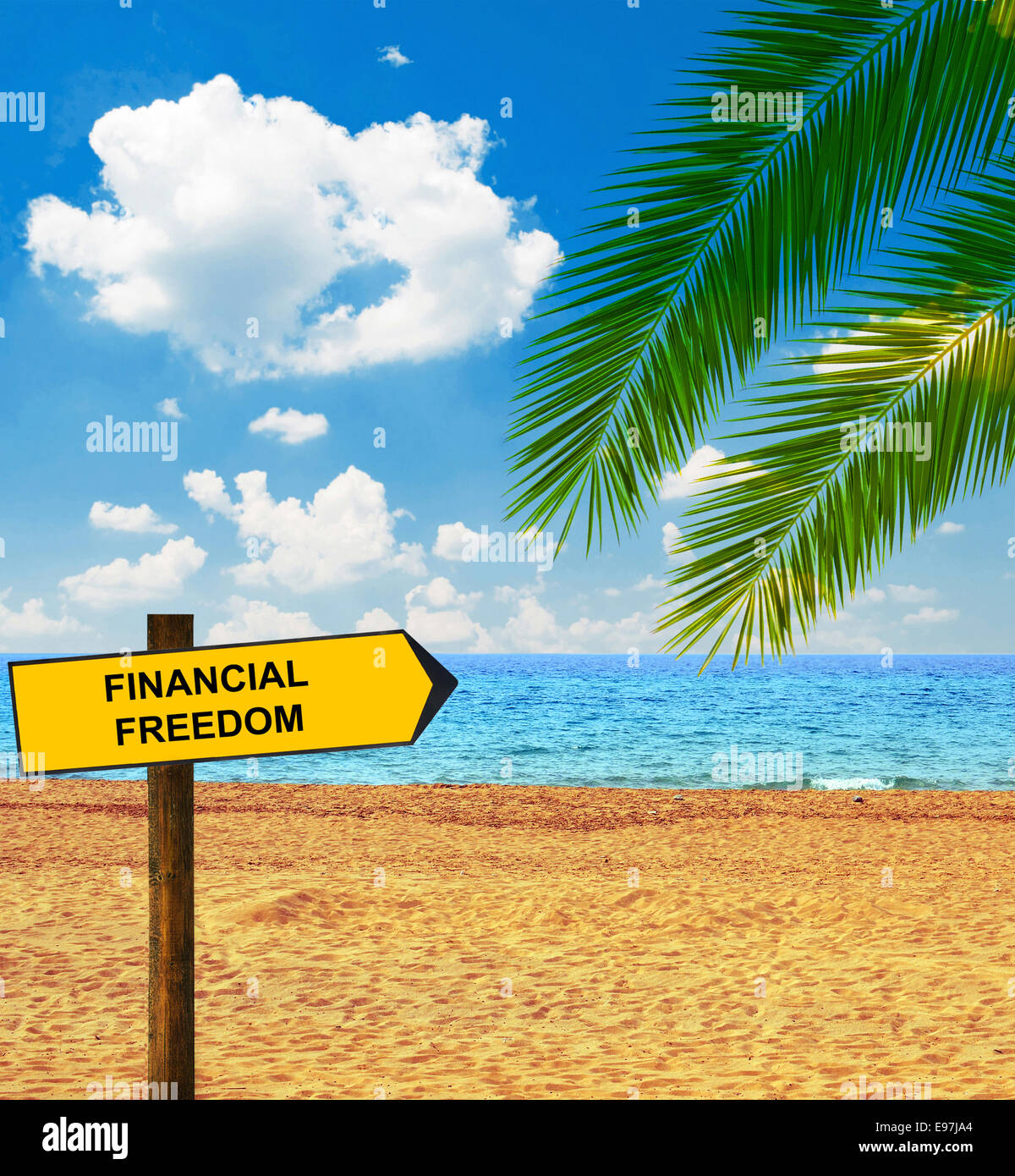Stock Quote Sun Life Financial: Tropical Beach And Direction Board Saying FINANCIAL