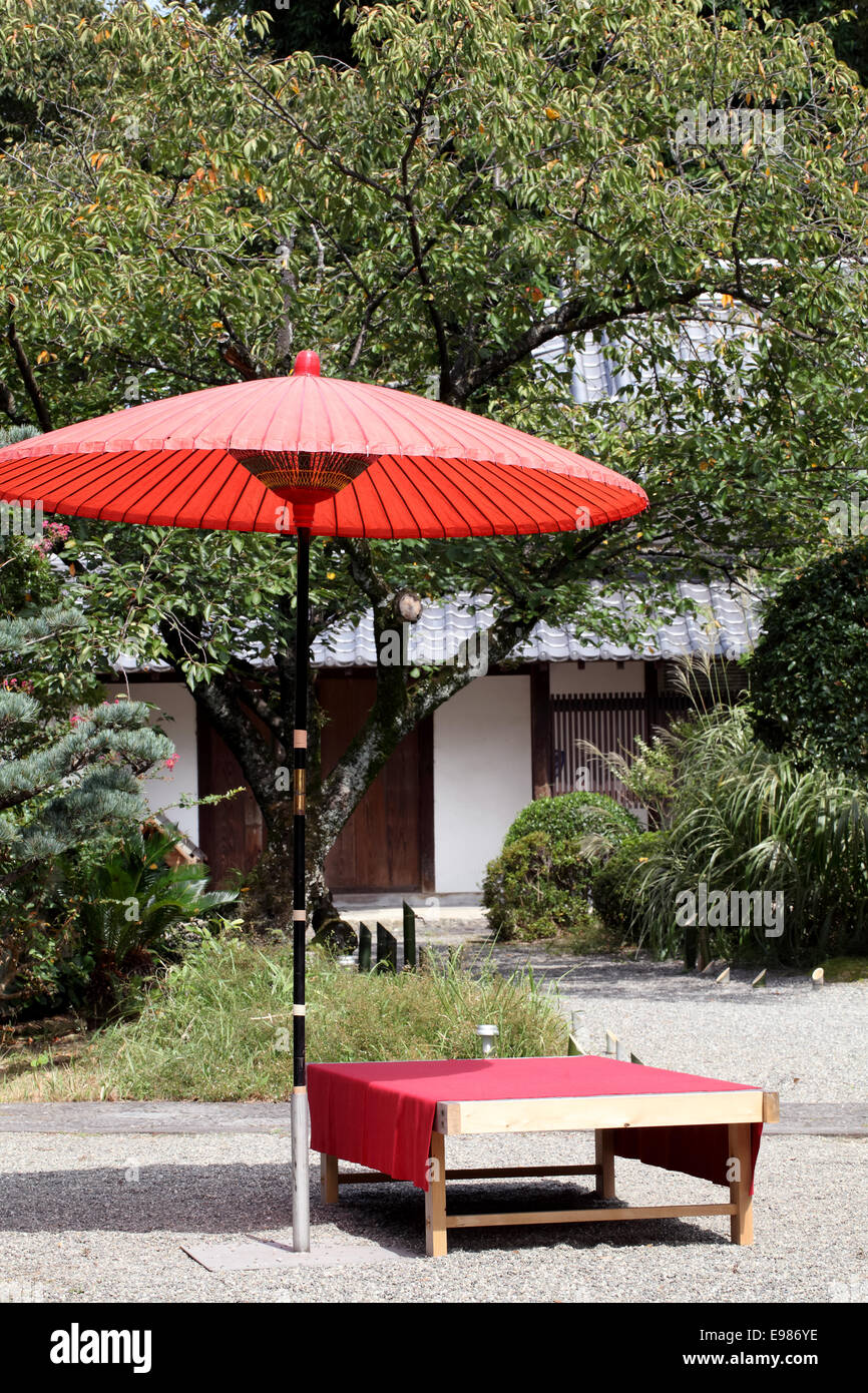 Japanese Outdoor Furniture. Traditional Japanese Style Restaurant Tutaya ·  Red Umbrella In Garden For Green