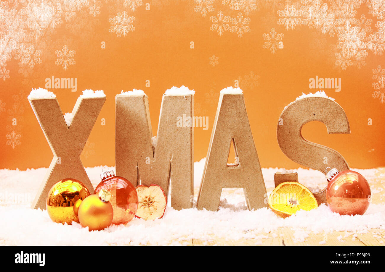 Colorful xmas background with falling snowflakes and wooden letters colorful xmas background with falling snowflakes and wooden letters spelling xmas covered in snow with orange and gold decorations and fruit on a warm toned madrichimfo Images