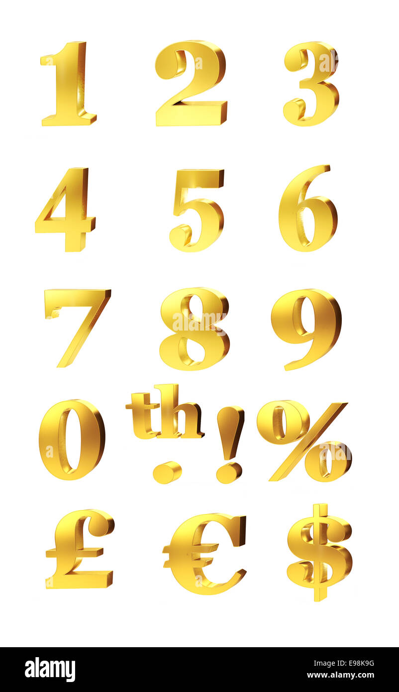 3d set of gold numerals percentage and currency symbols for pound 3d set of gold numerals percentage and currency symbols for pound dollar and euro isolated on white buycottarizona Choice Image
