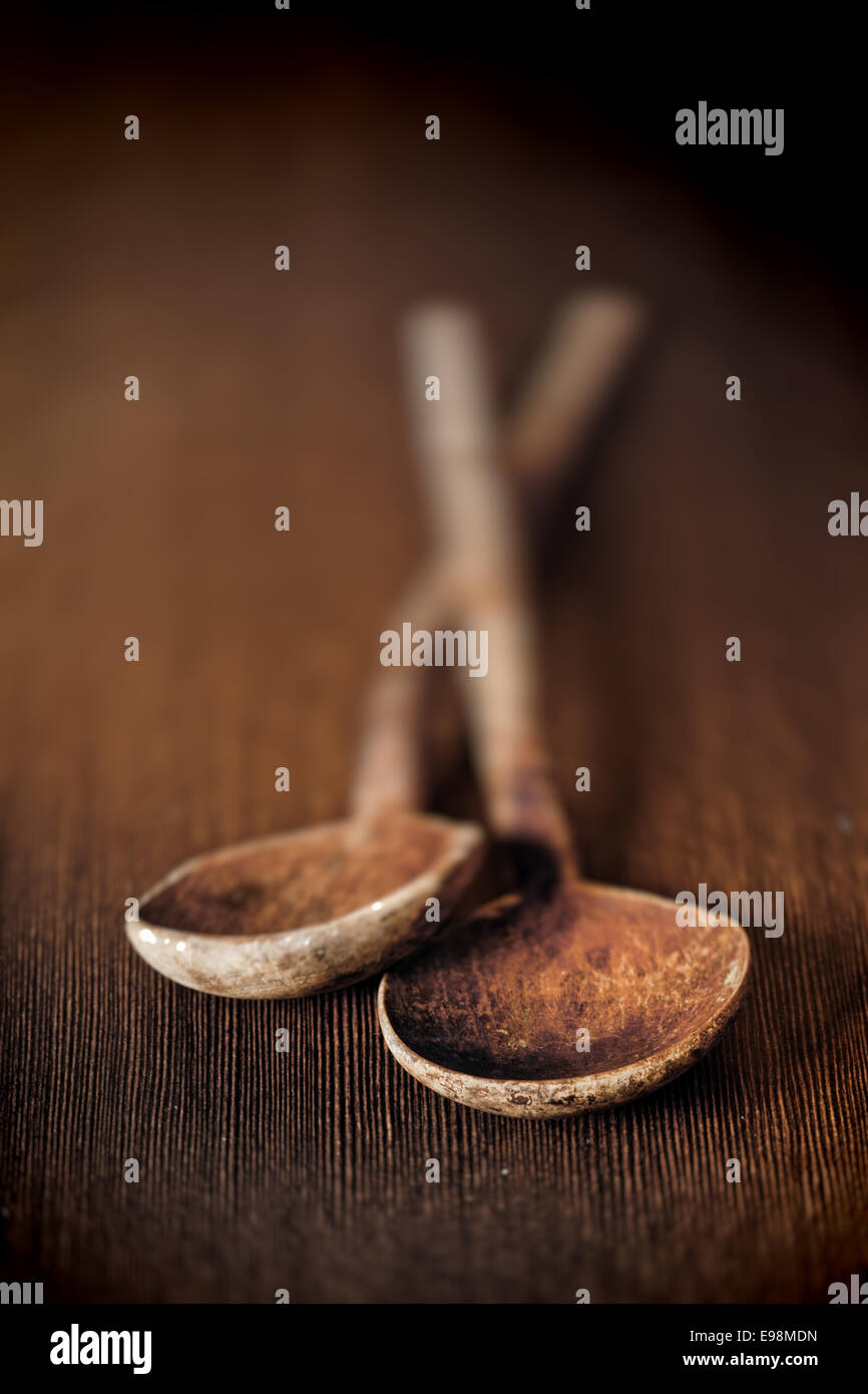 Background image mdn - Background Of Two Old Wooden Kitchen Mixing Spoons On A Table Top With Bowls Towards The