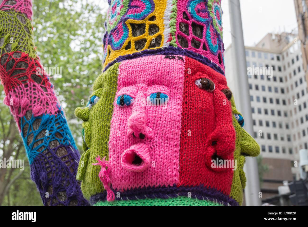 Knitted Street Art Yarn Bombing Tree Melbourne Australia ...