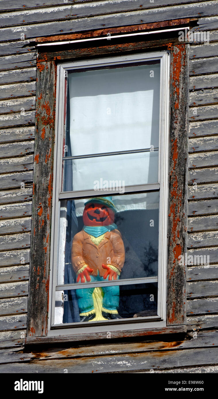 Halloween decoration, pumpkin head man in window of old weathered ...