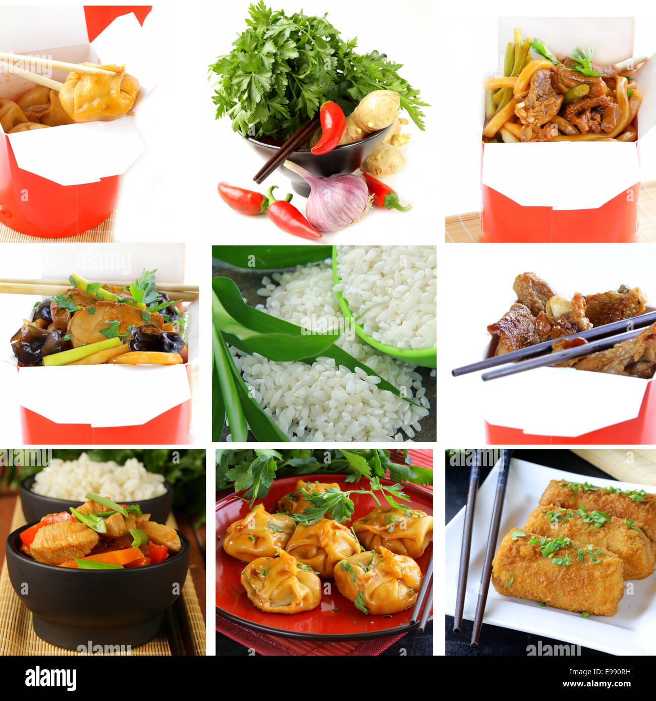 Set menu of chinese food and ingredients stock photo for Asian cuisine ingredients