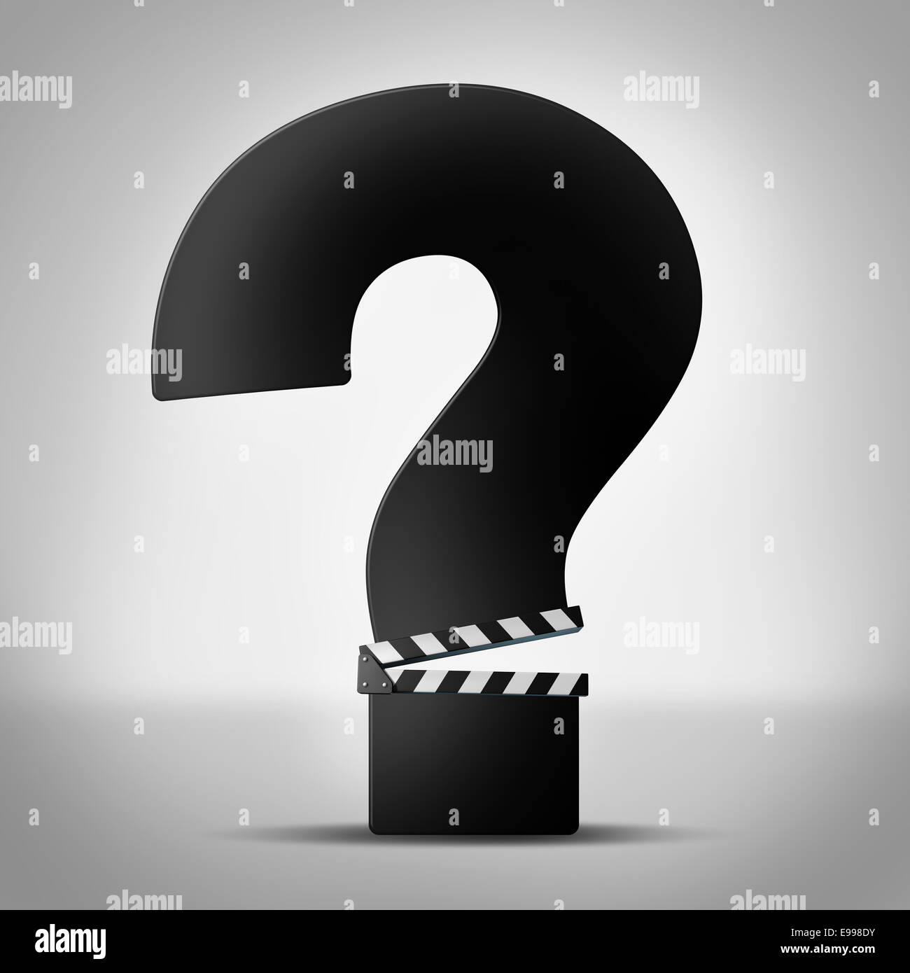 Movies questions show business information as a clapboard or movies questions show business information as a clapboard or clapper board shaped as a question mark as a symbol for movie reviews or ratings information or biocorpaavc