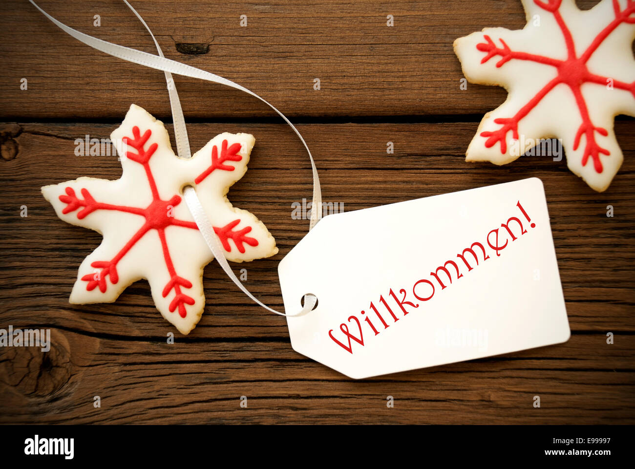 Red White Christmas Star Cookies with a Label on which stands the ...