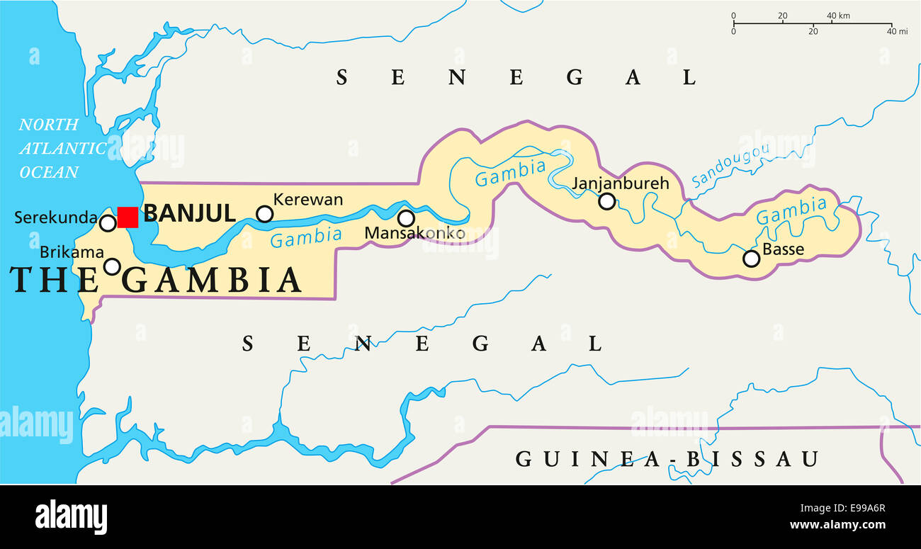Worksheet. The Gambia Political Map with capital Banjul national borders