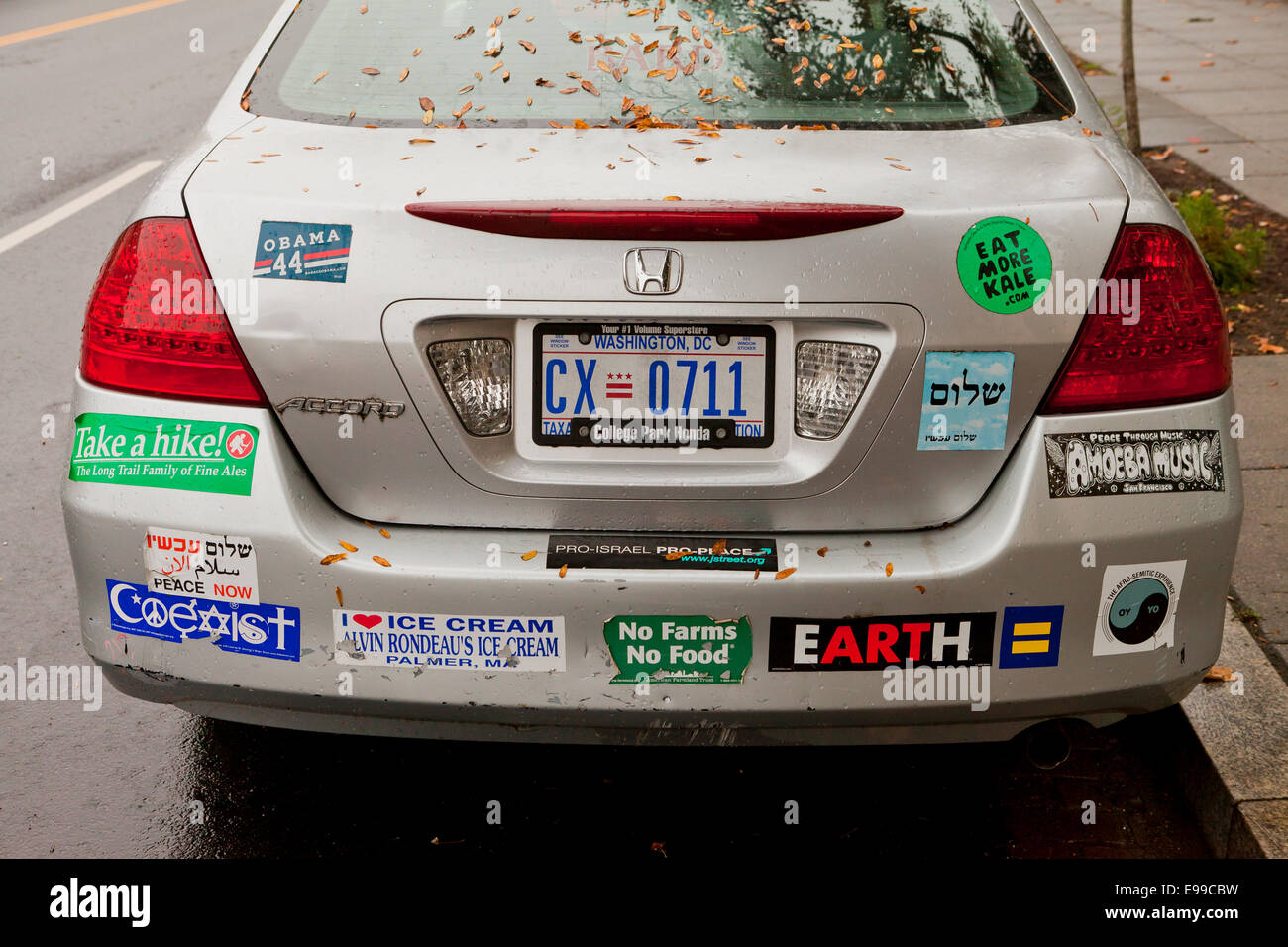 Car Bumper Stickers On Honda Accord USA Stock Photo Royalty - Stickers for honda accord
