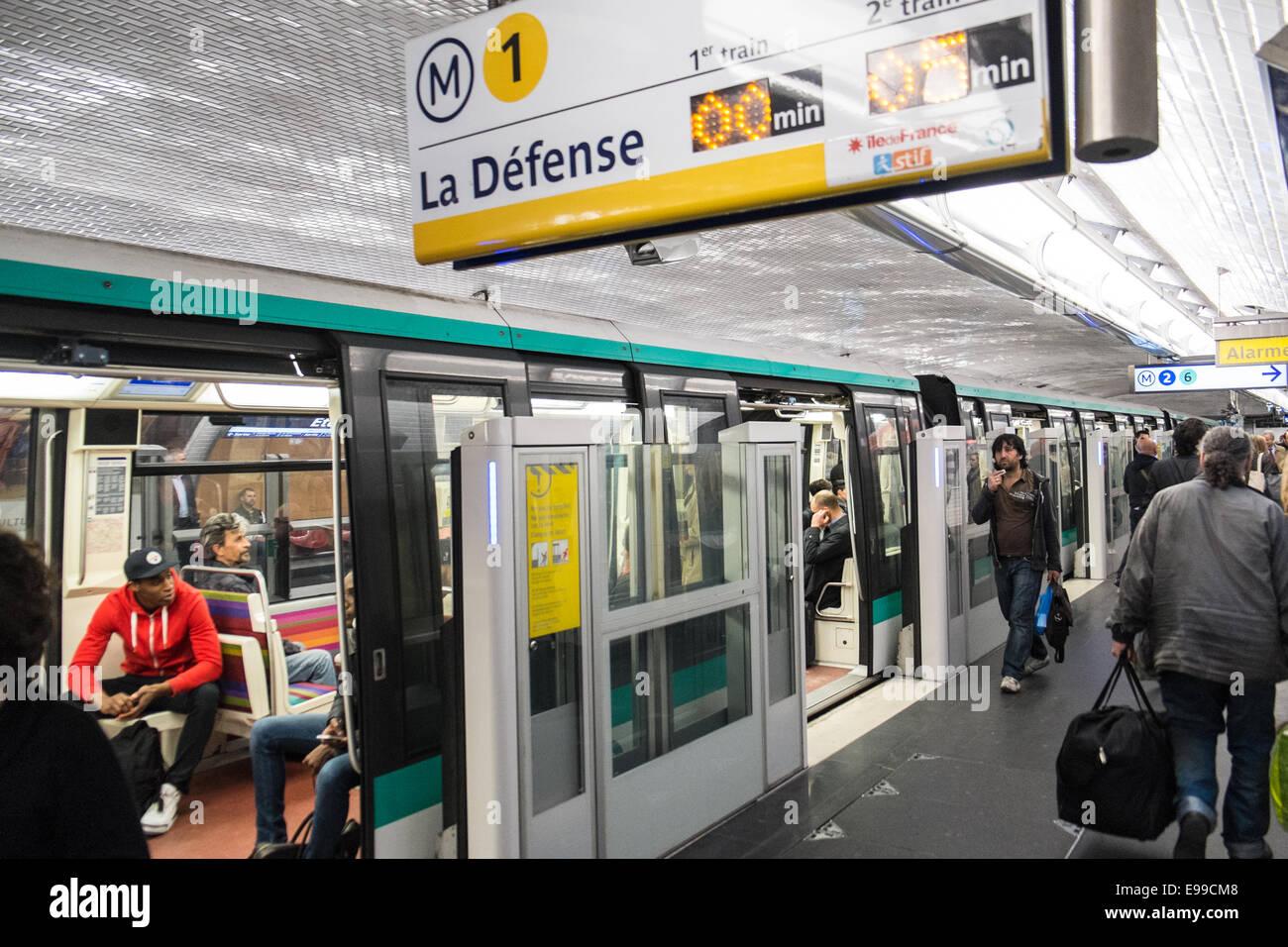 Paris Metro, underground,La Defense station, train ...