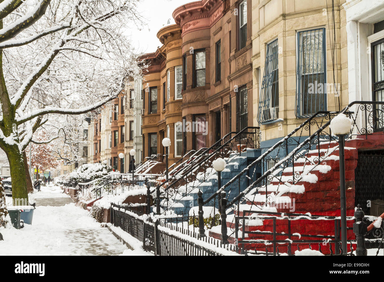 Snow on the trees and the stoops of historic Brownstone apartments ...