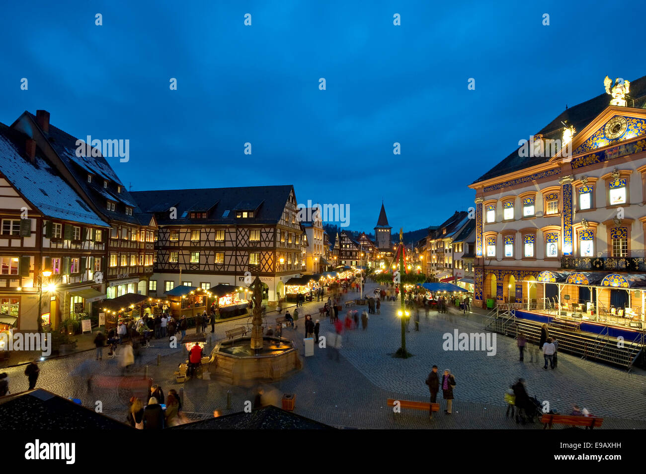 christmas market at dusk gengenbach ortenau black. Black Bedroom Furniture Sets. Home Design Ideas