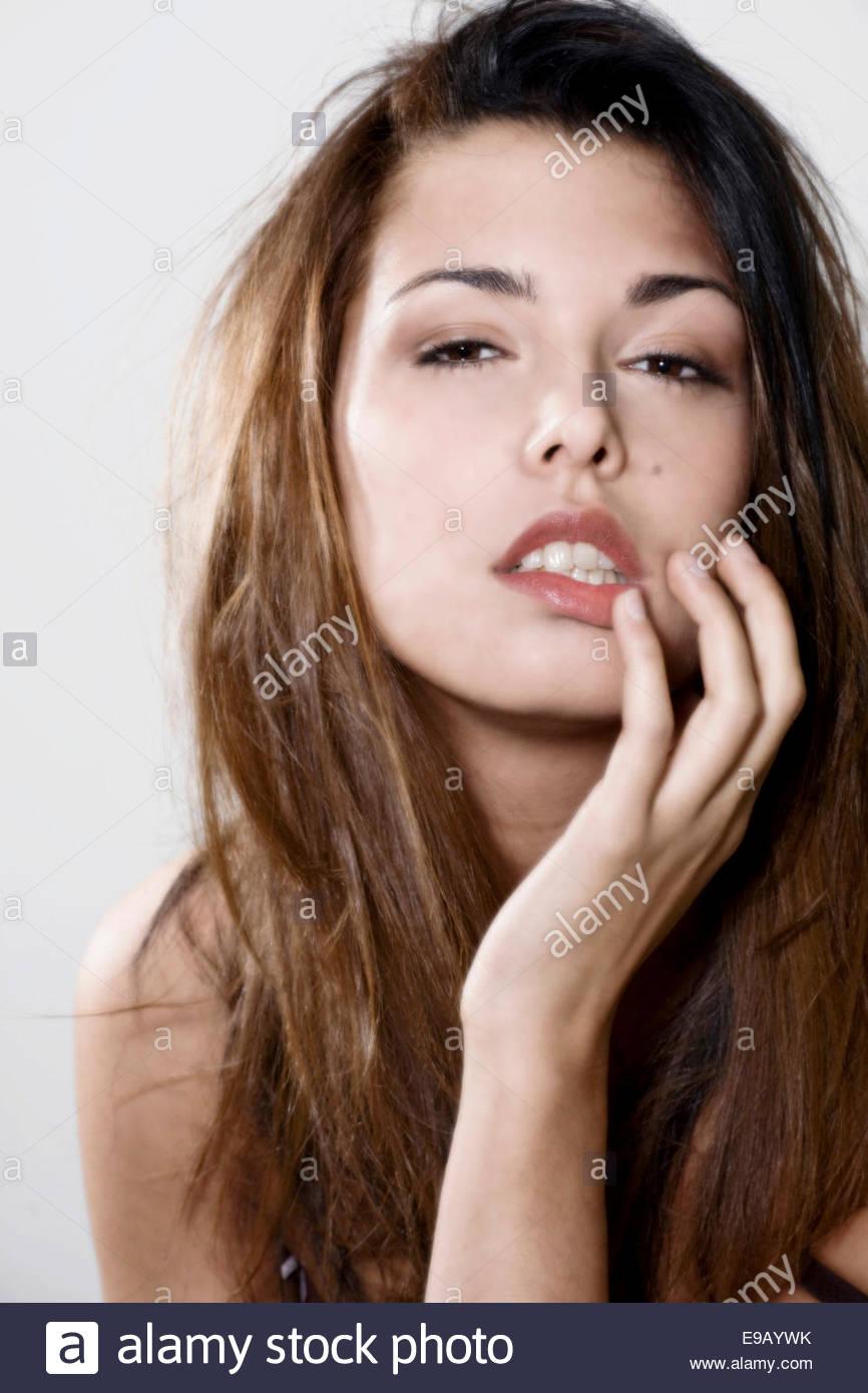 Girl Touching Her Lips