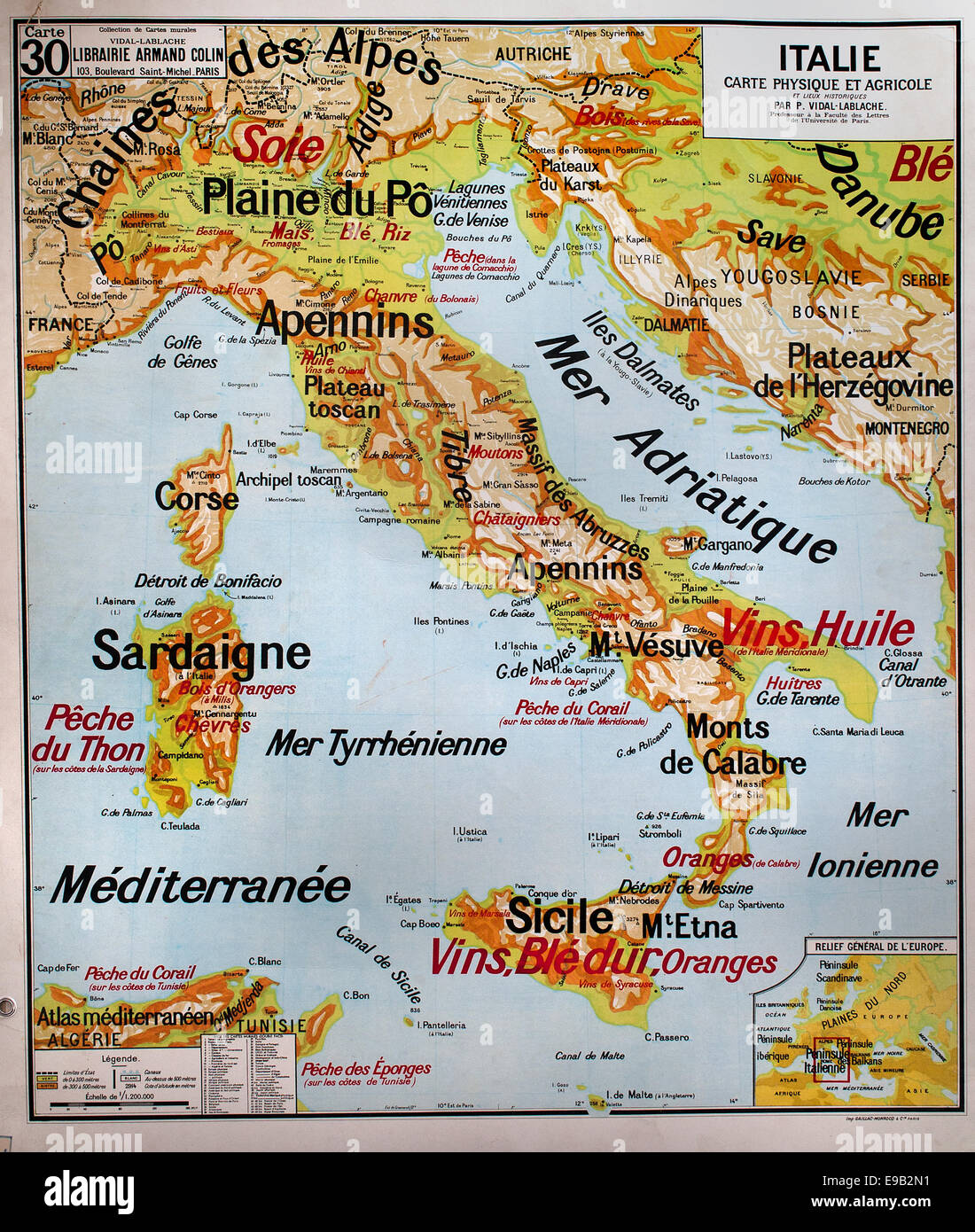 Historic map italy stock photos historic map italy stock images old school world wall map italy mediterranean french cartography stock image gumiabroncs Gallery