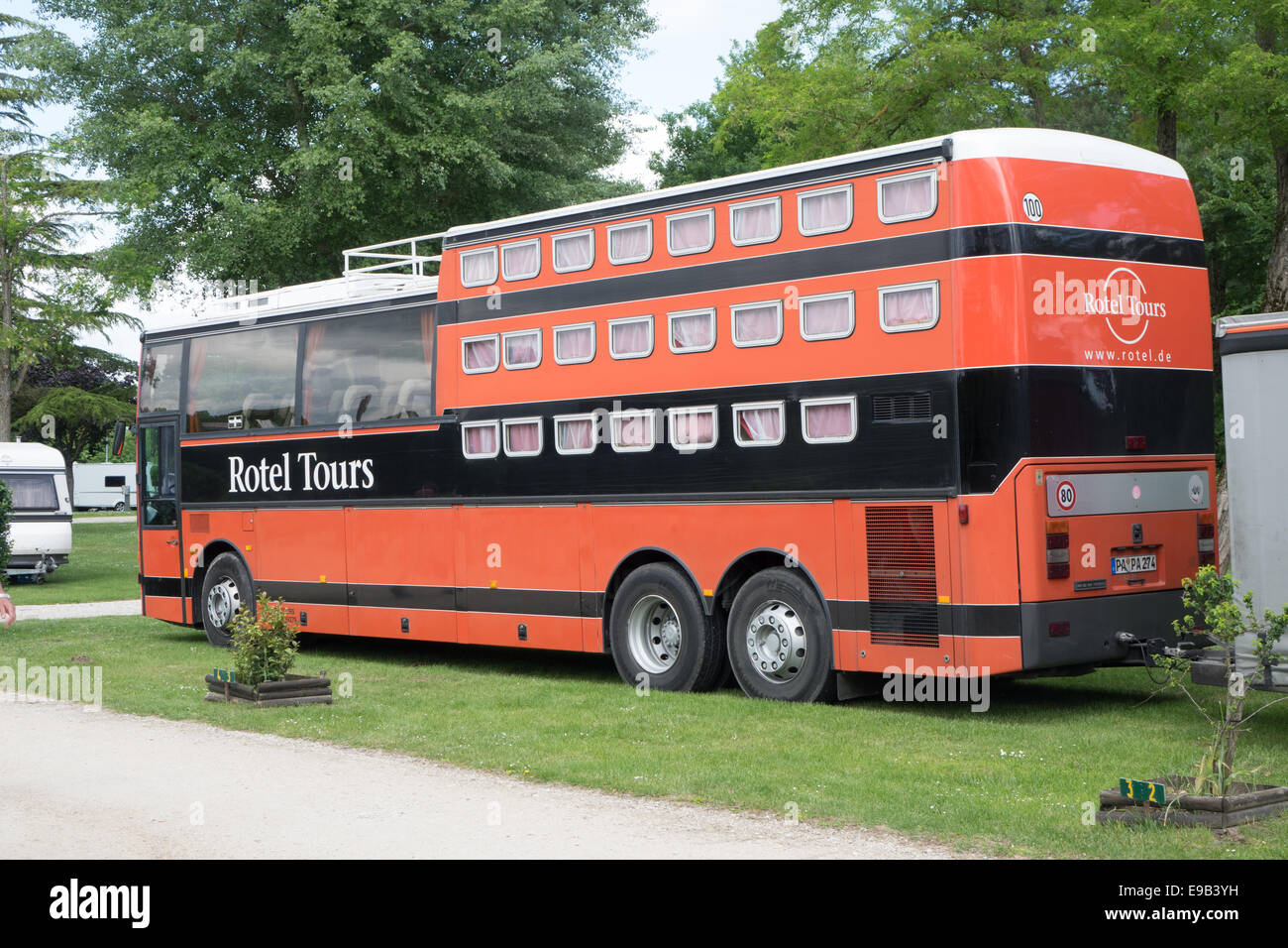rotel german double decker tour bus and bike trailer parked at le stock photo royalty free. Black Bedroom Furniture Sets. Home Design Ideas