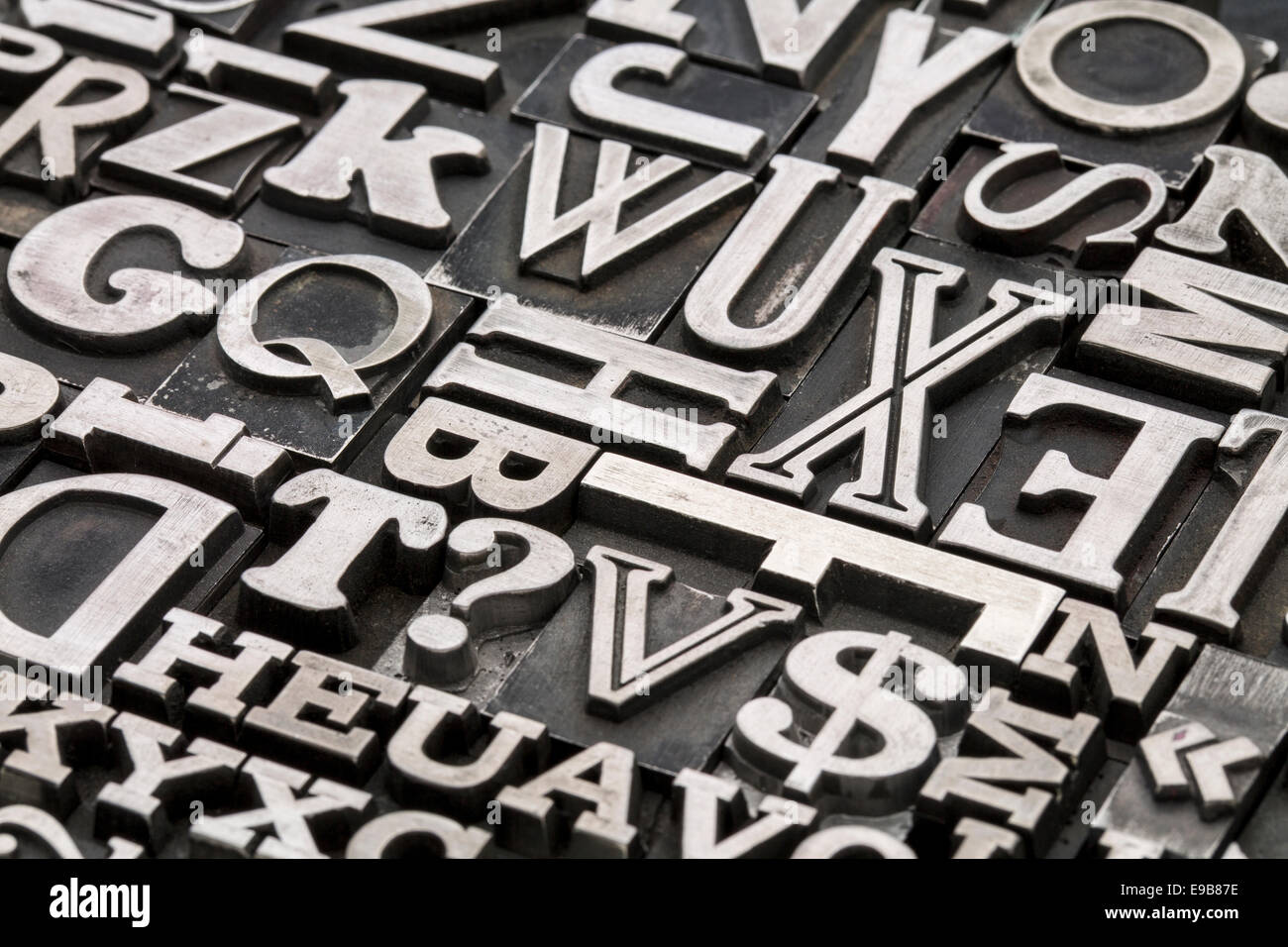 stock photo metal type abstract vintage letterpress printing blocks with letters dollar sign and question mark