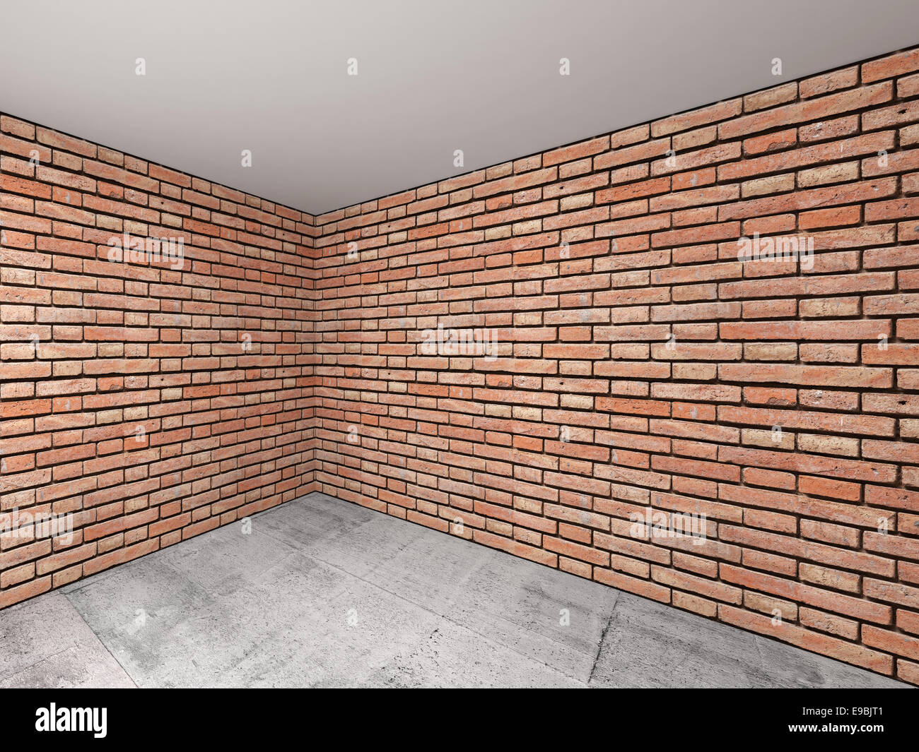 Empty Room Interior With Red Brick Walls 3d Background