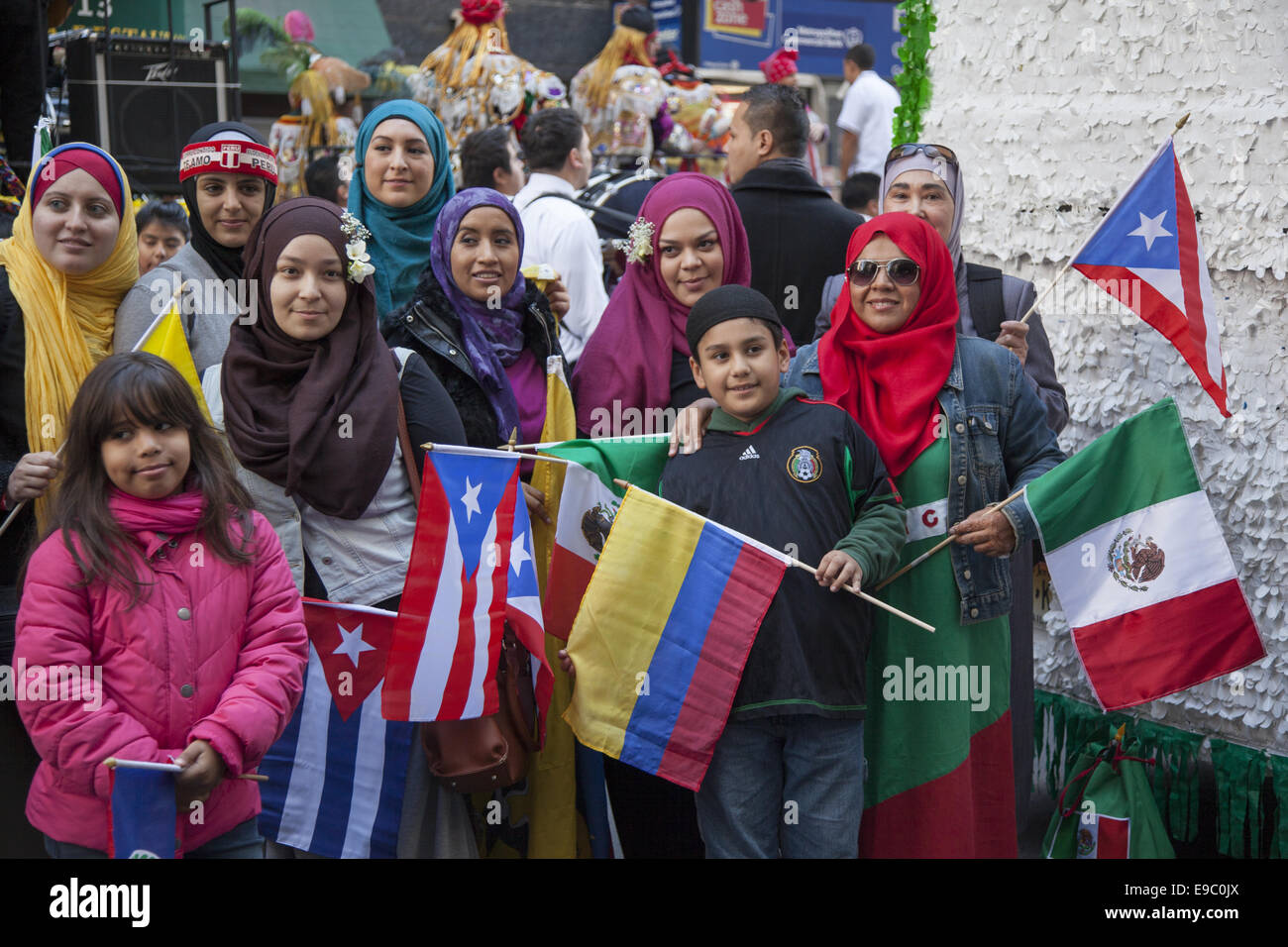Hispanic Day Parade on 5th Avenue in NYC. Hispanic Muslims Stock ...