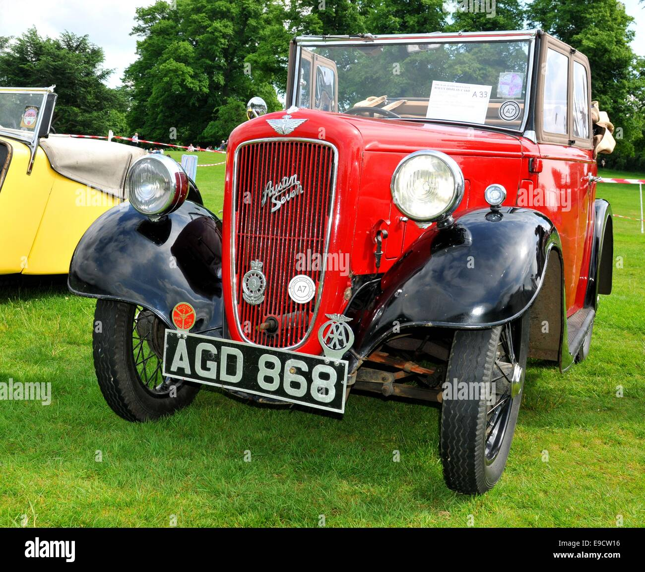 NOTTINGHAM, UK. JUNE 1, 2014: Front view of vintage car for sale in ...