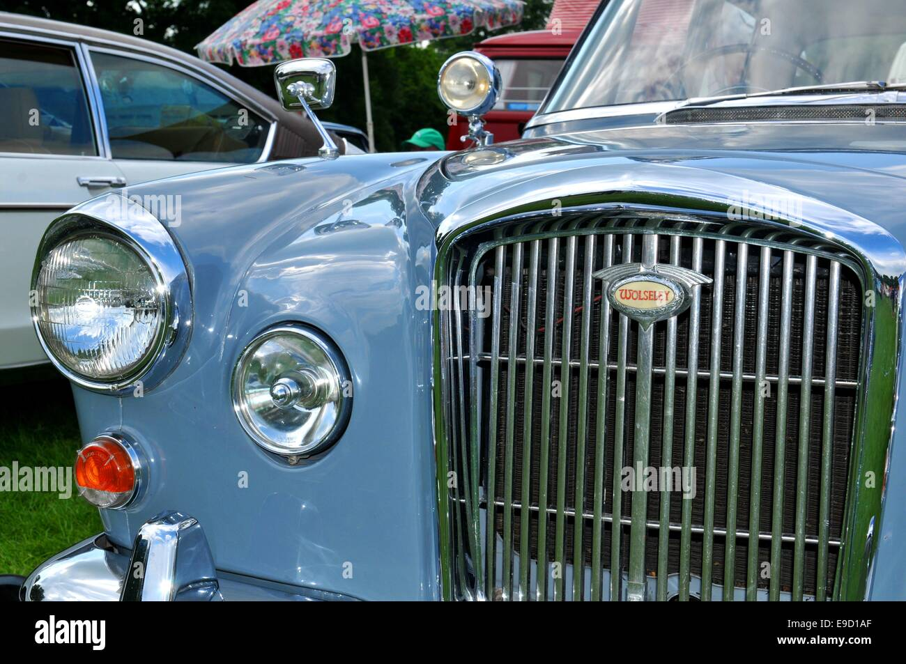 NOTTINGHAM, UK. JUNE 1, 2014: view of vintage car for sale in Stock ...