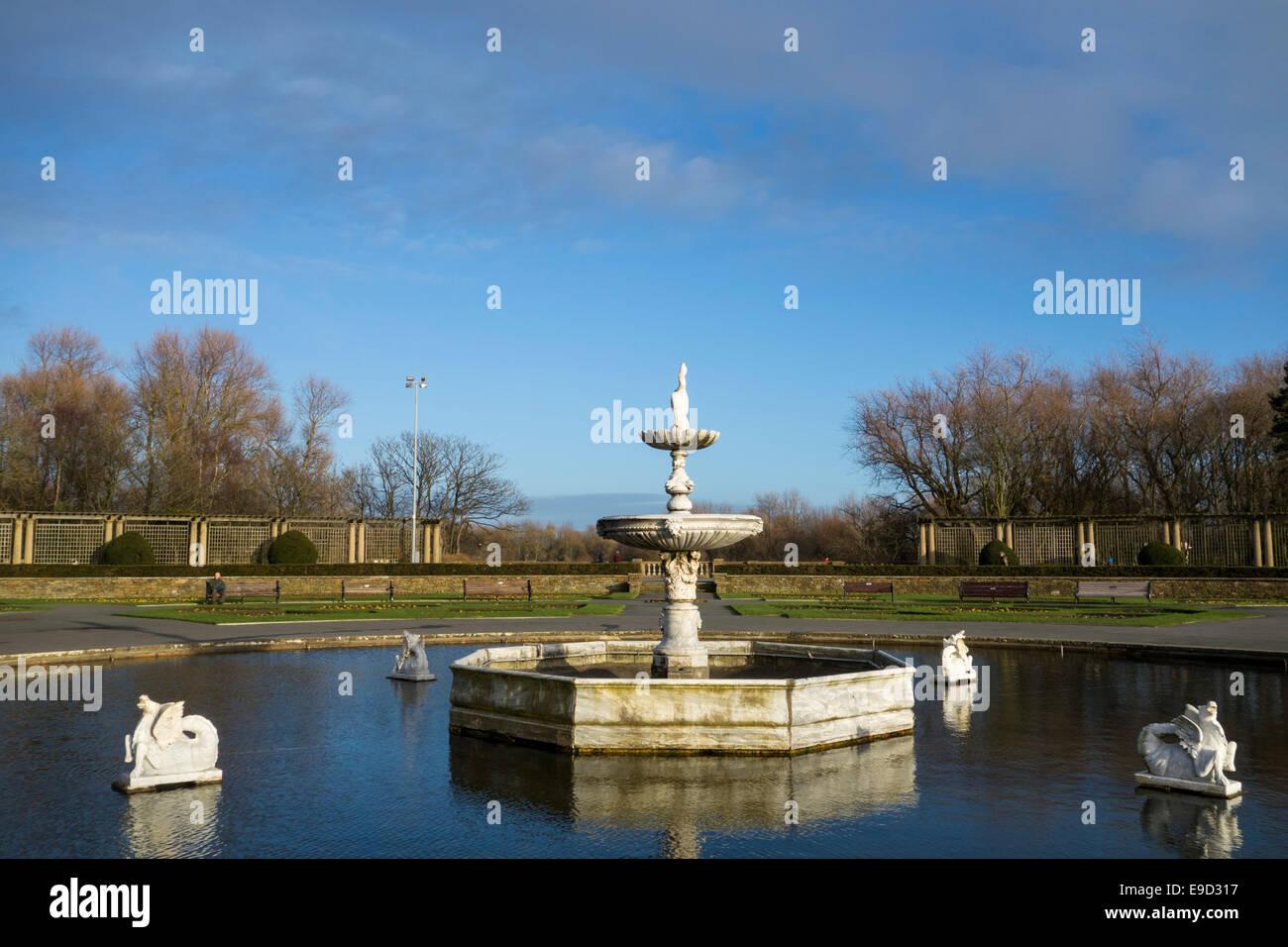 fountain in italian gardens of stanley park blackpool stock photo